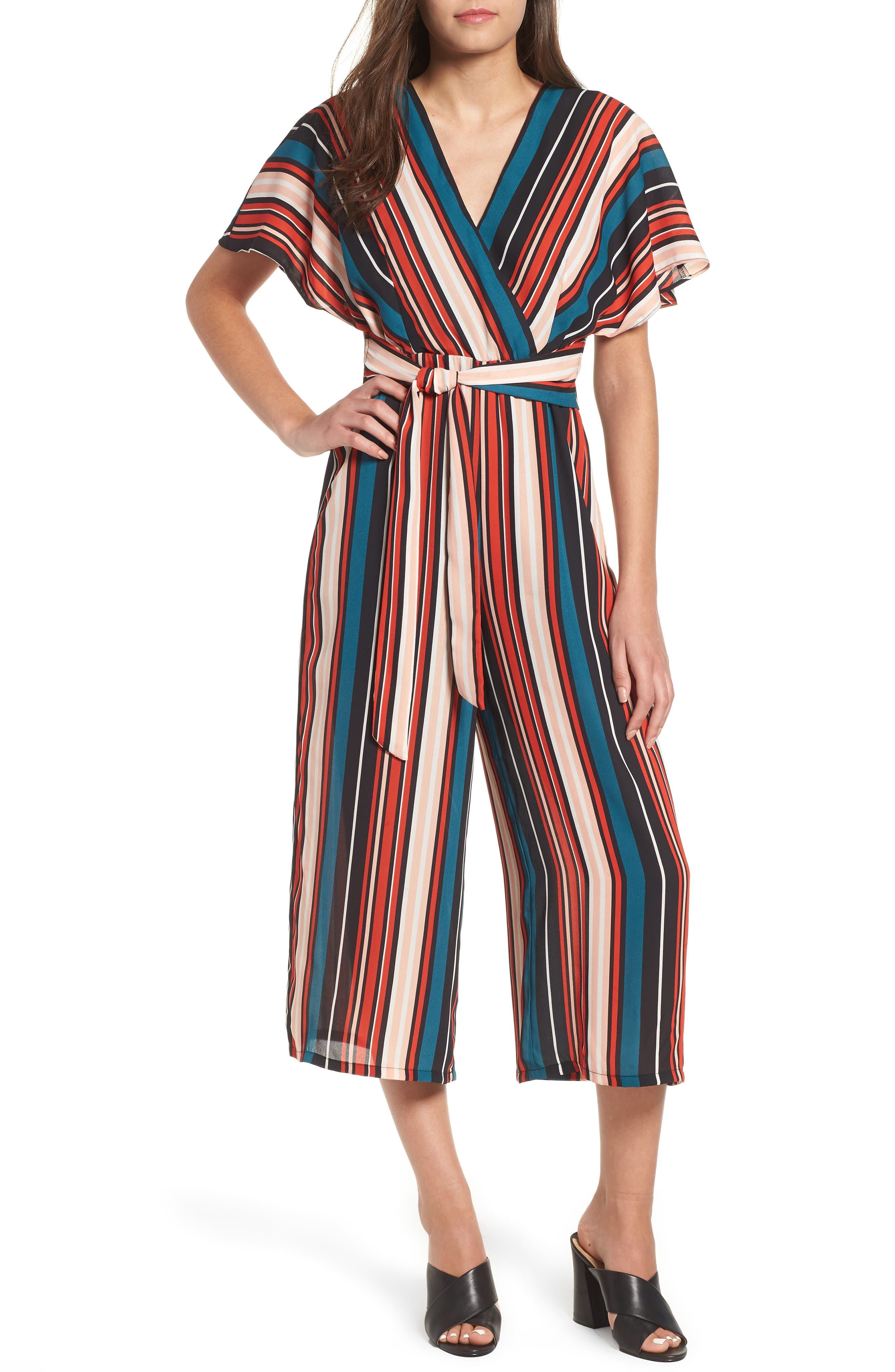 Tie Waist Jumpsuit,                             Main thumbnail 1, color,                             001