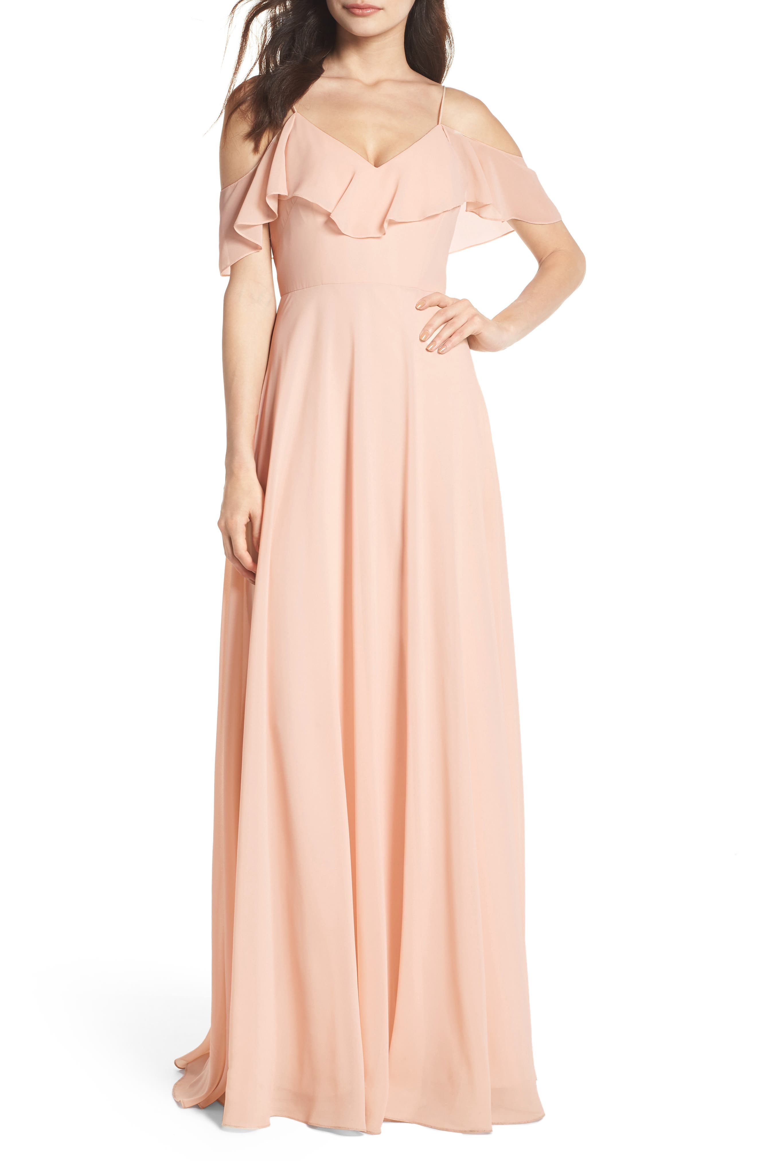 Jenny Yoo Cold Shoulder Chiffon Gown, Pink