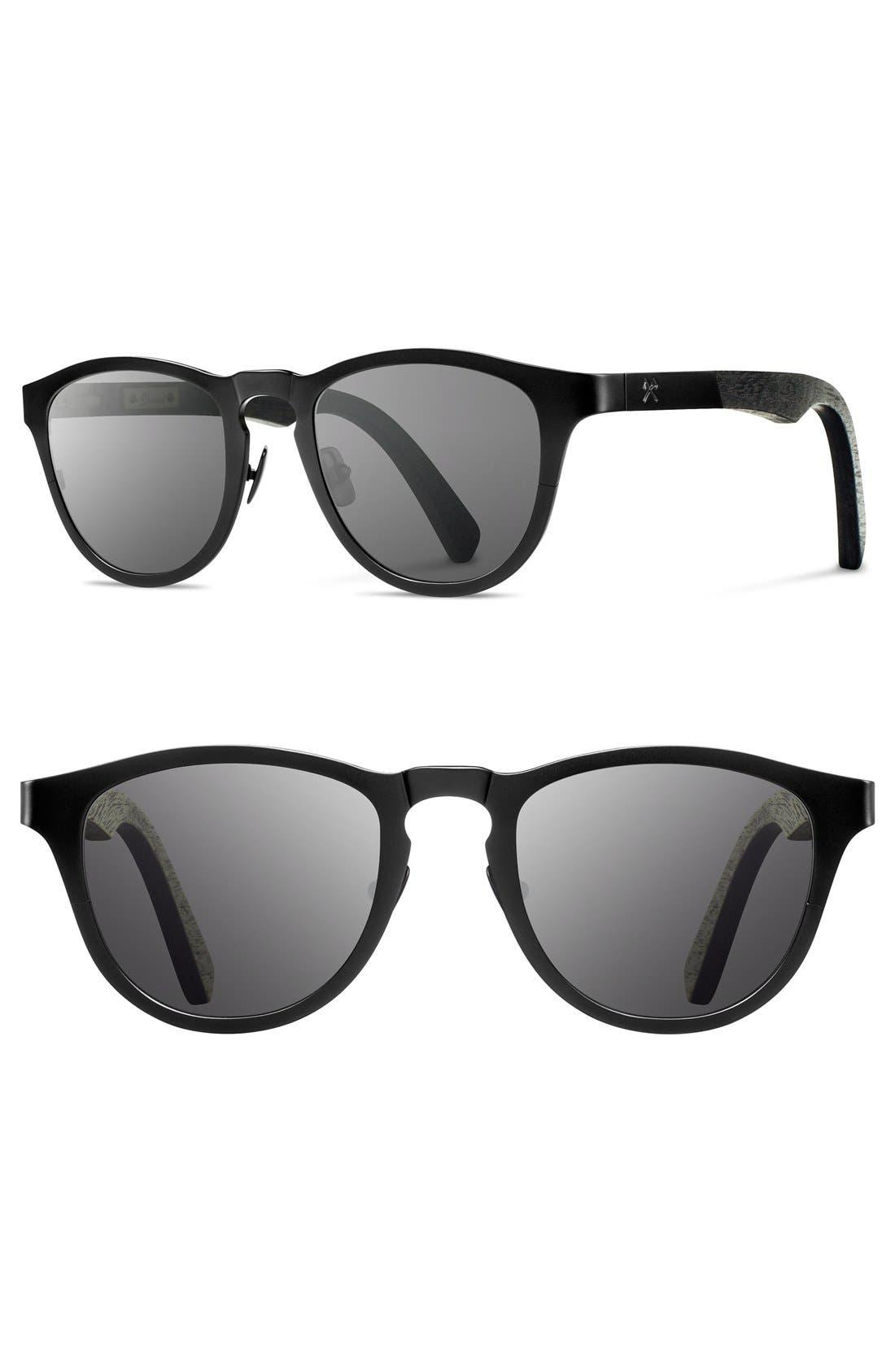 'Francis' 49mm Titanium & Wood Sunglasses,                             Main thumbnail 2, color,