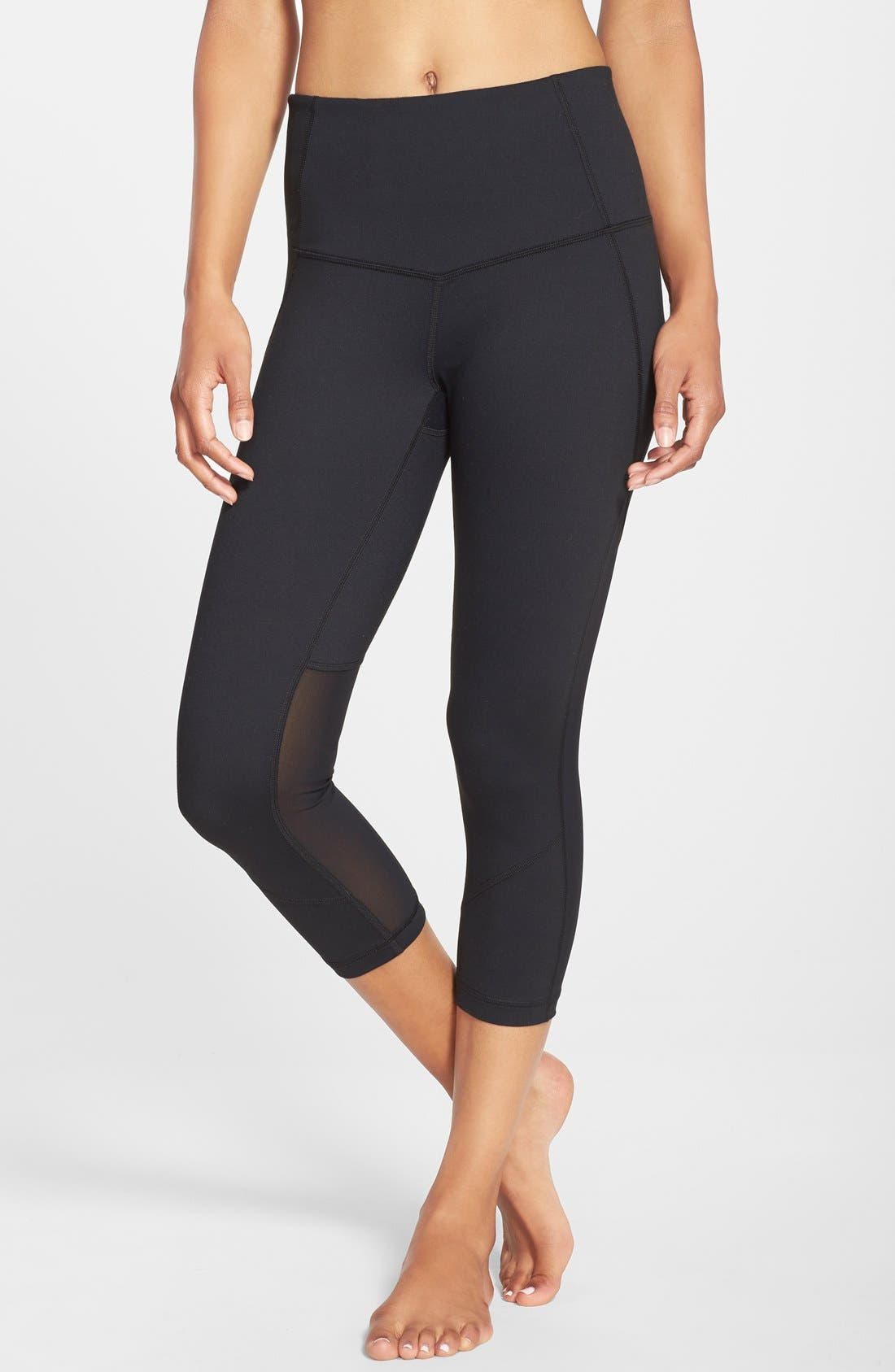 'Live In - Sultry' High Waist Mesh Crop Leggings,                             Alternate thumbnail 8, color,                             001