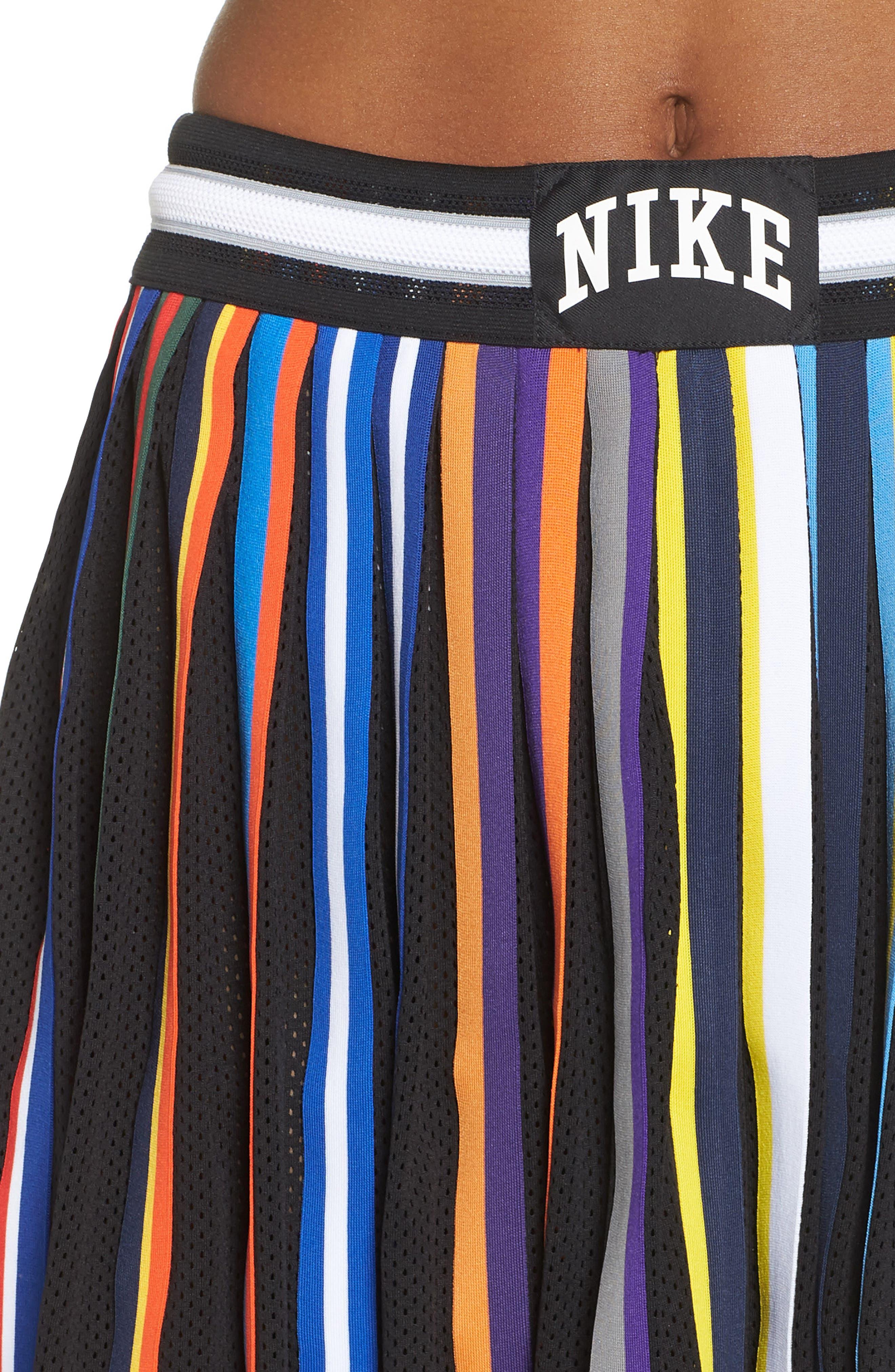 NikeLab Basketball Stripe Skirt,                             Alternate thumbnail 4, color,                             BLACK