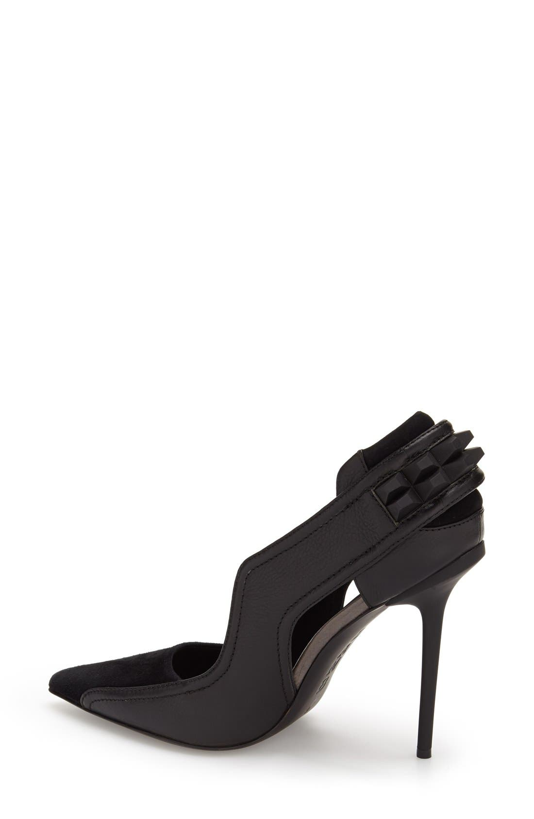 'Enforce' Leather & Suede Pointy Toe Pump,                             Alternate thumbnail 4, color,                             002