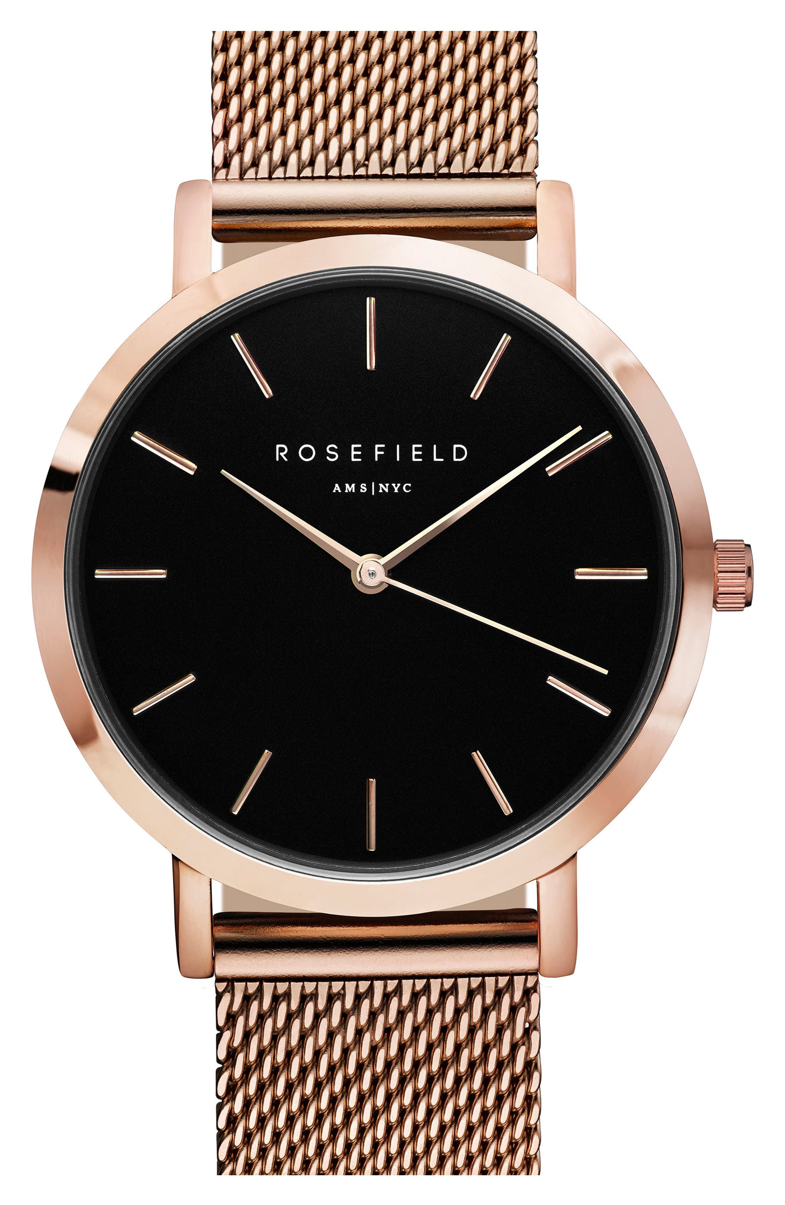 Tribeca Mesh Strap Watch, 33mm,                         Main,                         color, ROSE GOLD/ BLACK/ ROSE GOLD