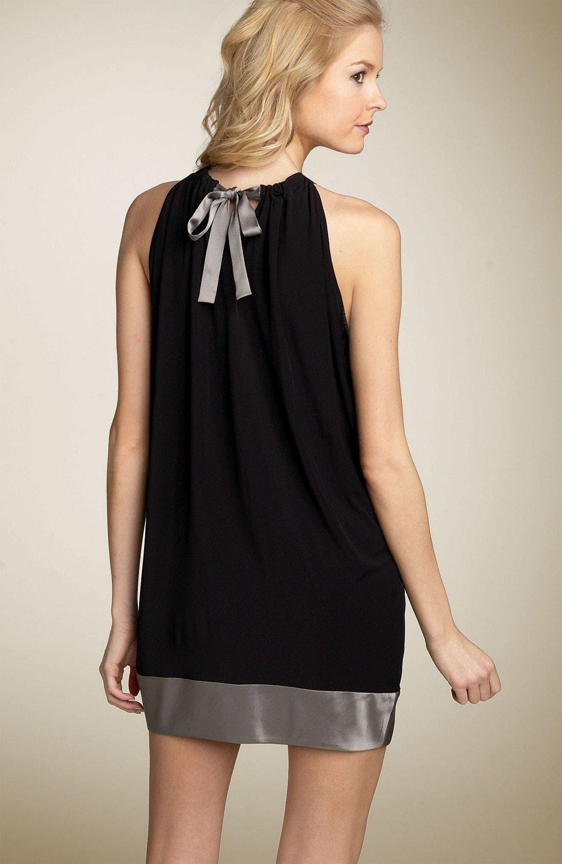 Charmeuse Trim Halter Tunic Dress,                             Alternate thumbnail 2, color,                             ZBP
