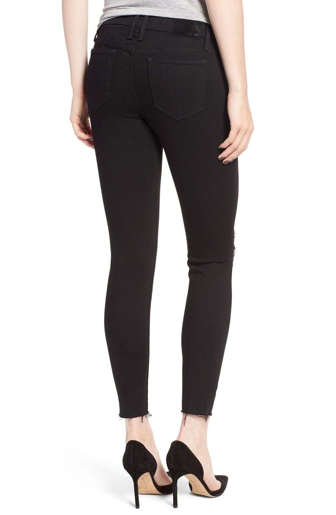 'Icon' Ripped Ankle Skinny Jeans,                             Alternate thumbnail 5, color,                             001