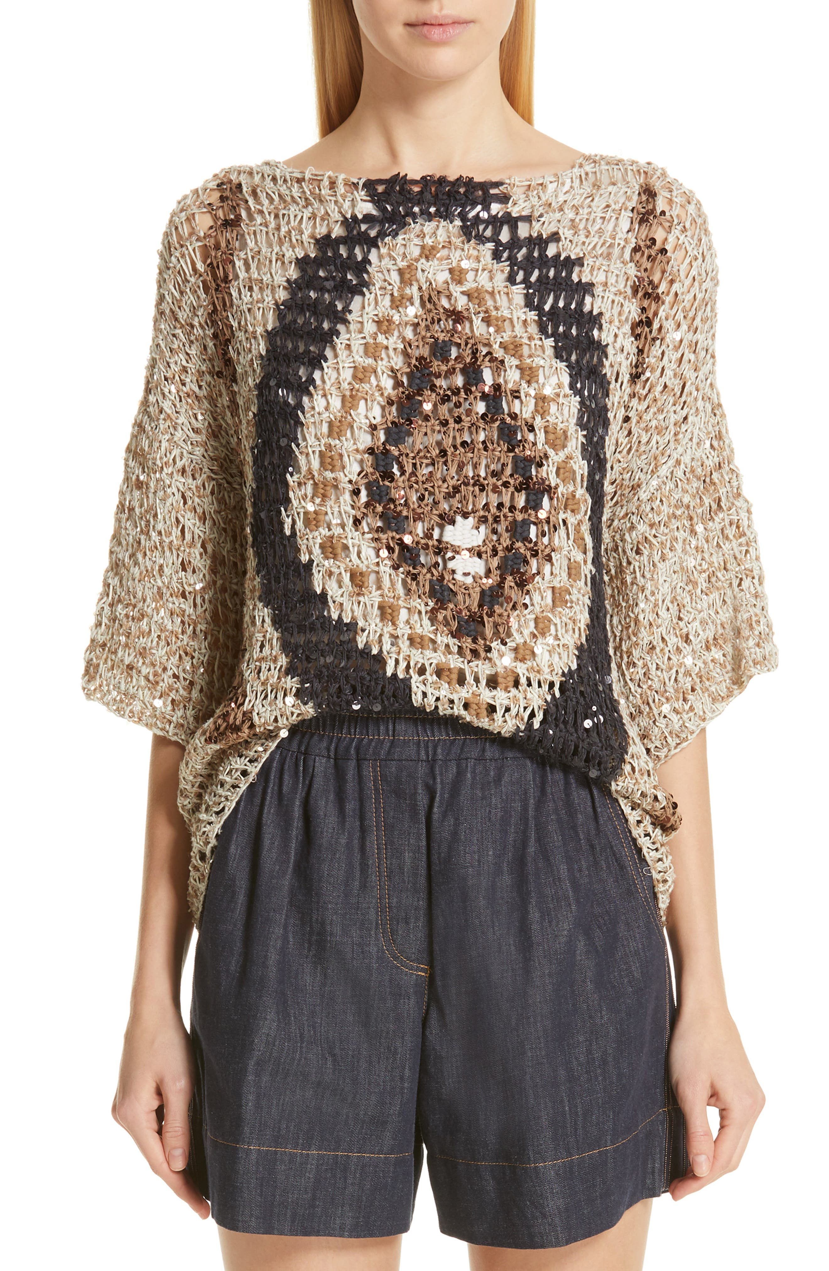 Sequin Open Knit Sweater, Main, color, SUMMER BEIGE