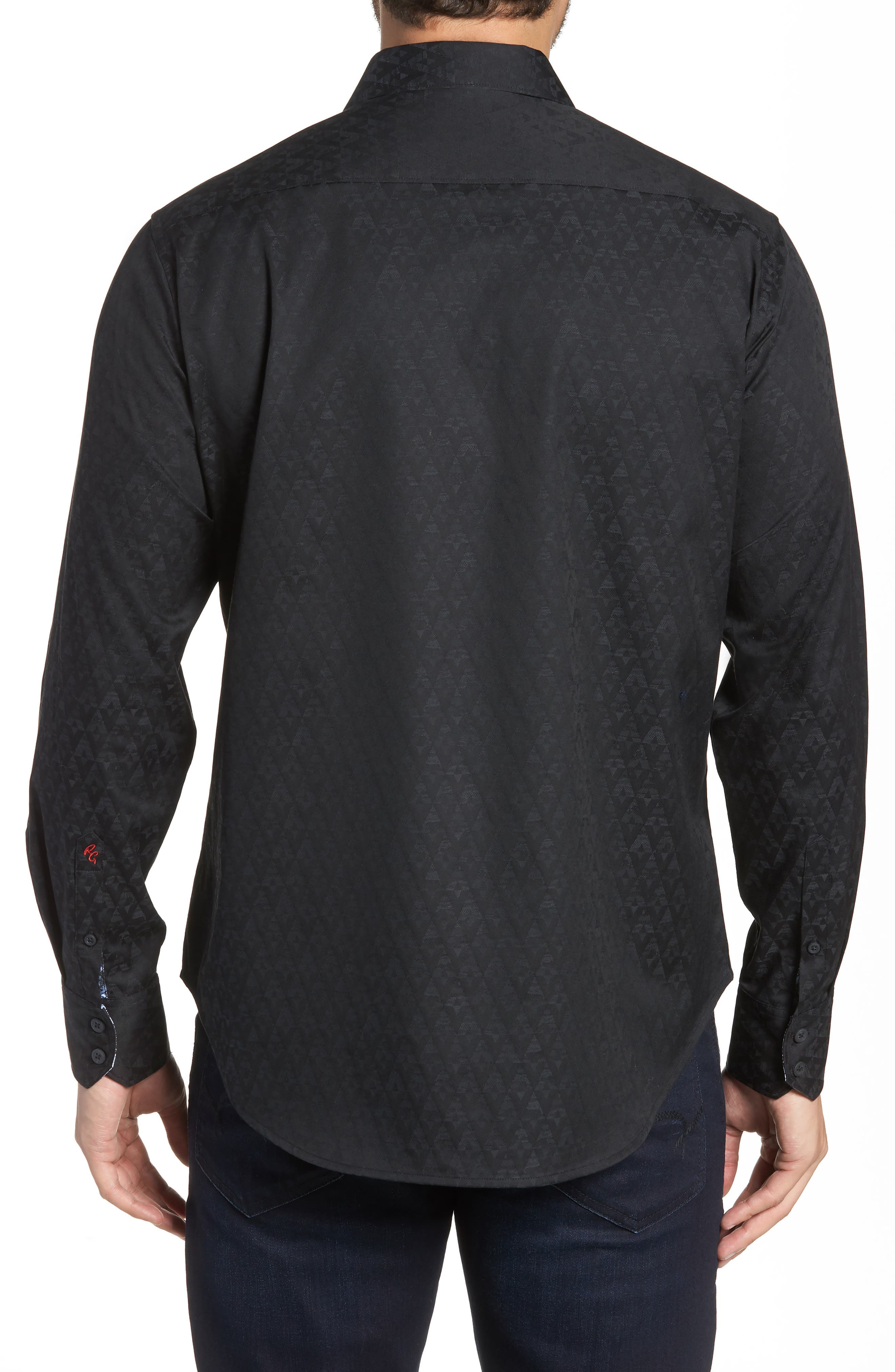 Classic Fit Stretch Geometric Sport Shirt,                             Alternate thumbnail 2, color,                             BLACK