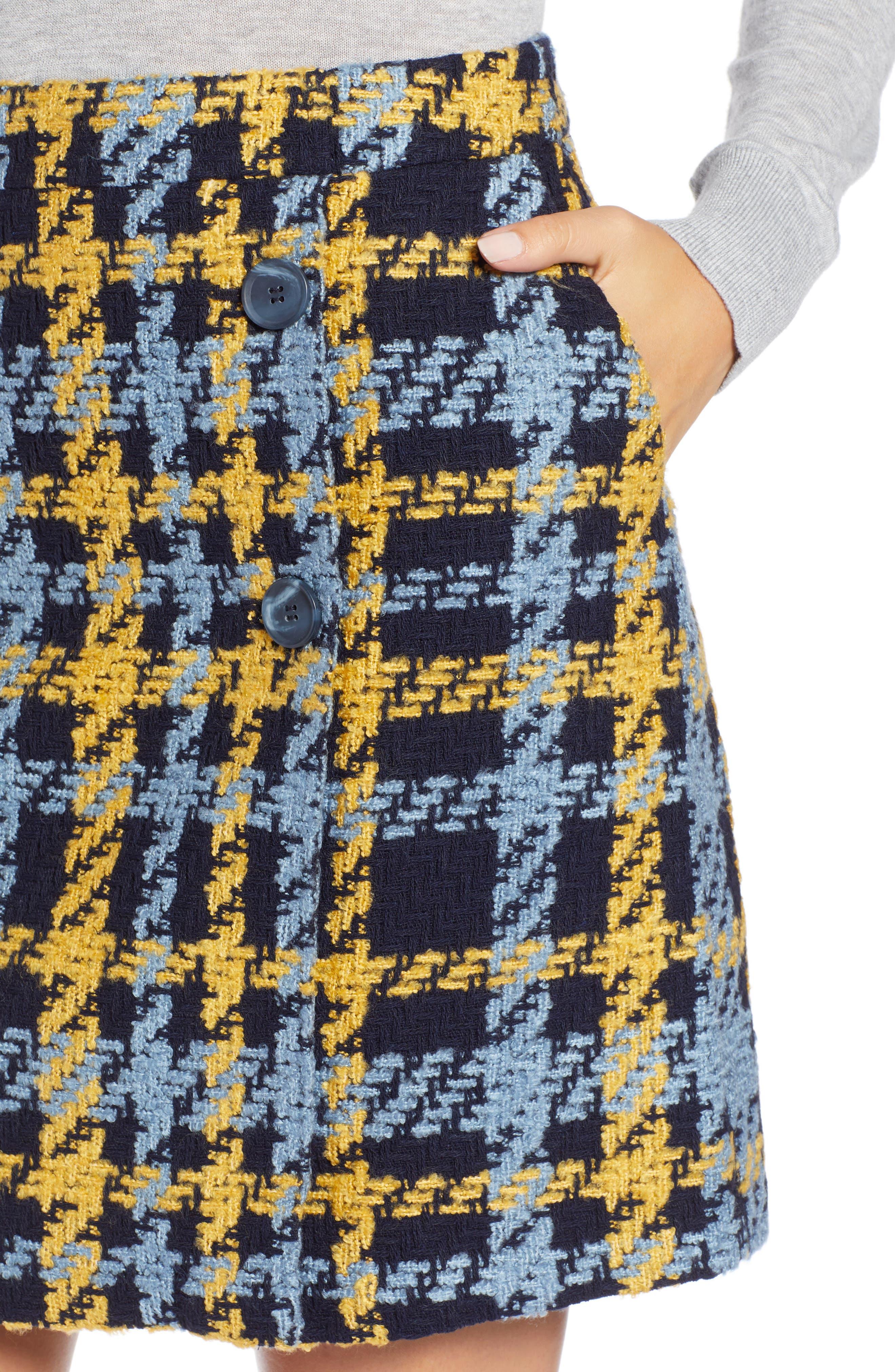Button Detail Plaid Skirt,                             Alternate thumbnail 4, color,                             410