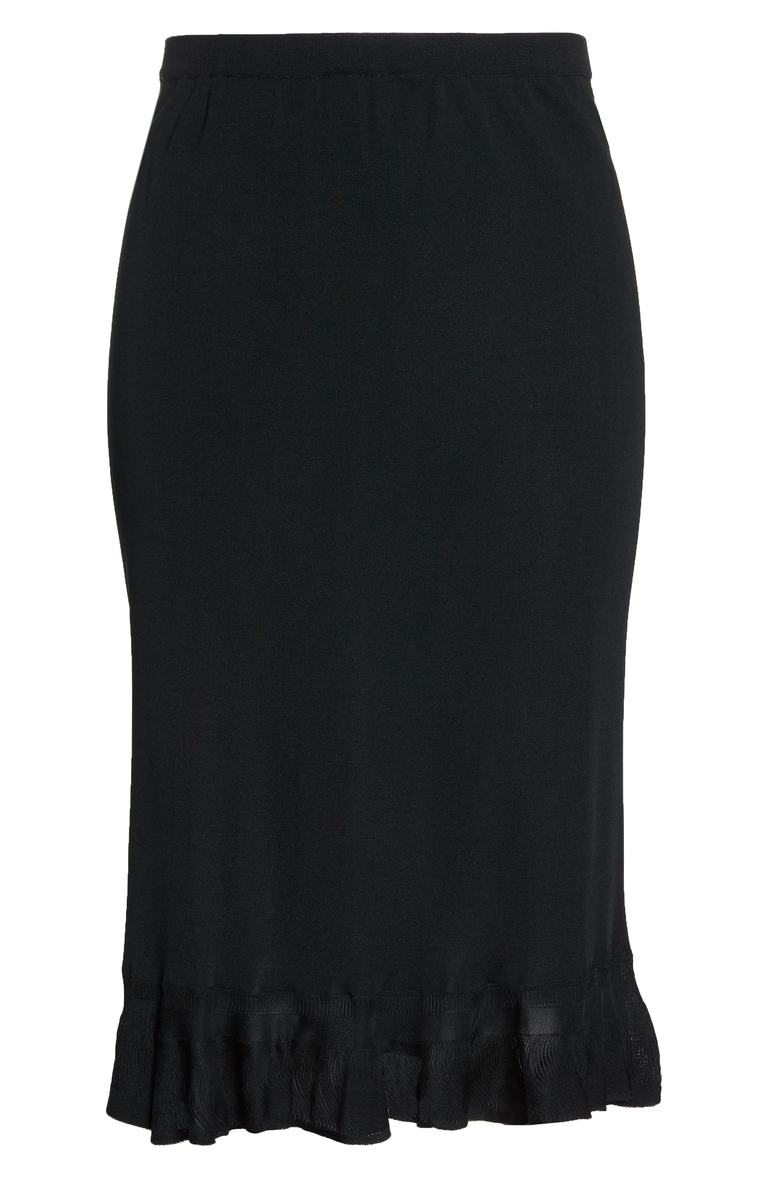 MING WANG,                             Ruffle Hem Skirt,                             Alternate thumbnail 6, color,                             BLACK