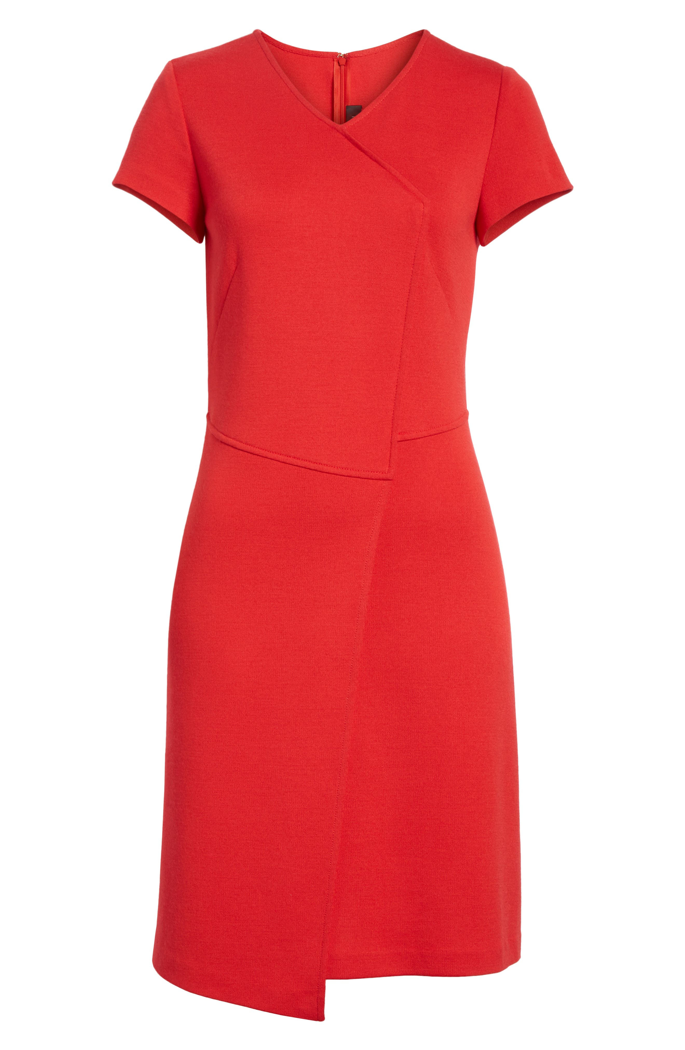 Flap Front Milano Knit Dress,                             Alternate thumbnail 6, color,