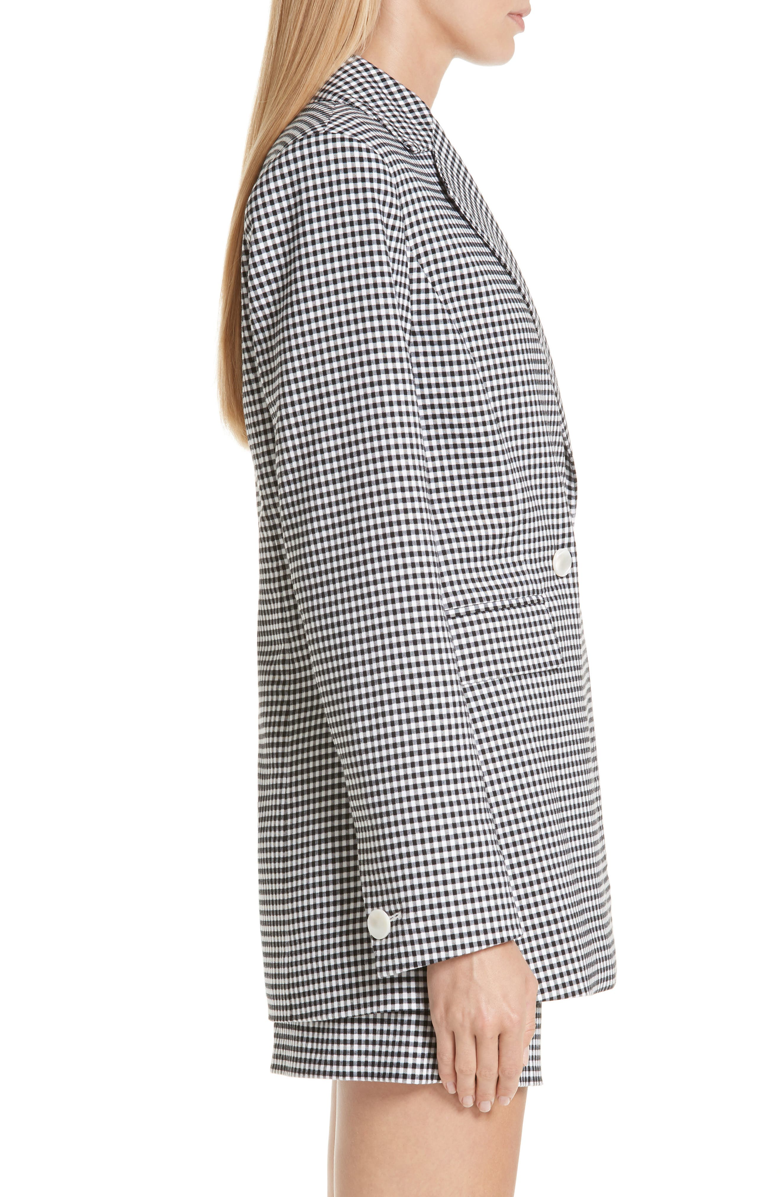 Lexy Mini Check Double Breasted Jacket,                             Alternate thumbnail 3, color,                             BLACK/ WHITE
