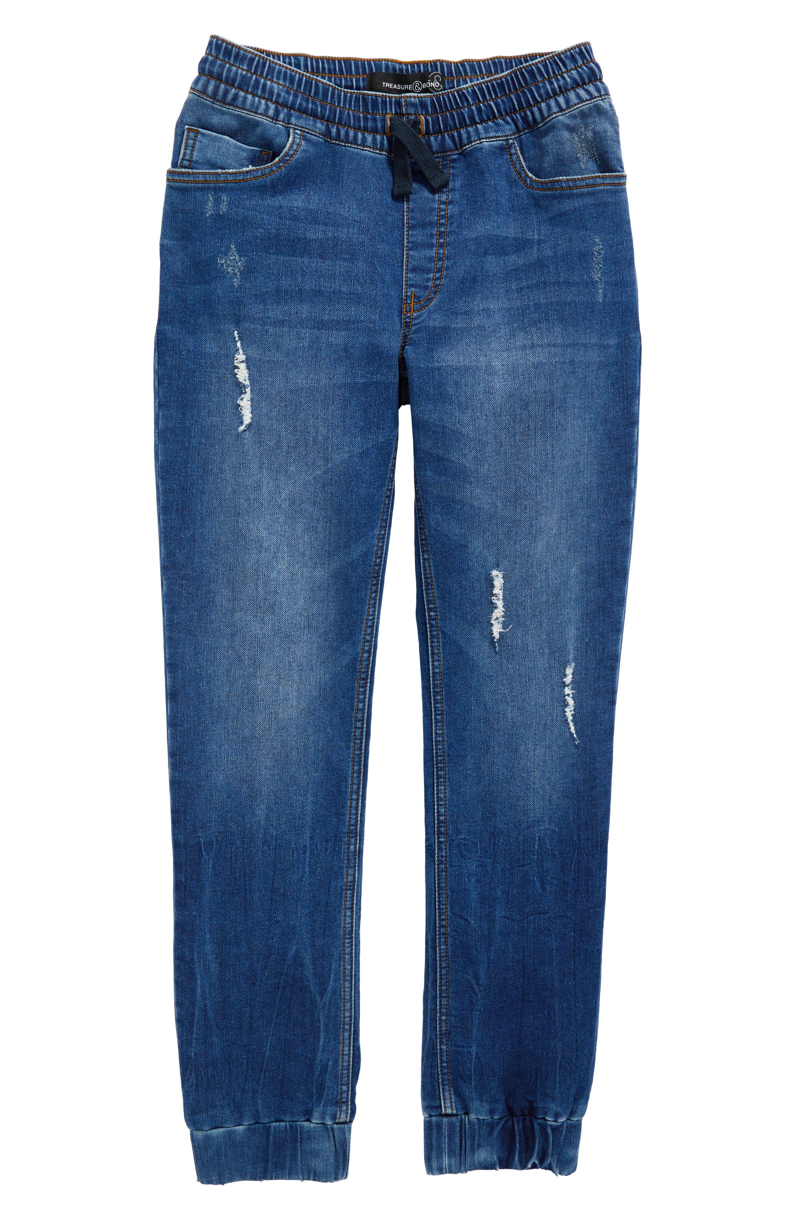 Destroyed Denim Jogger Pants,                         Main,                         color,