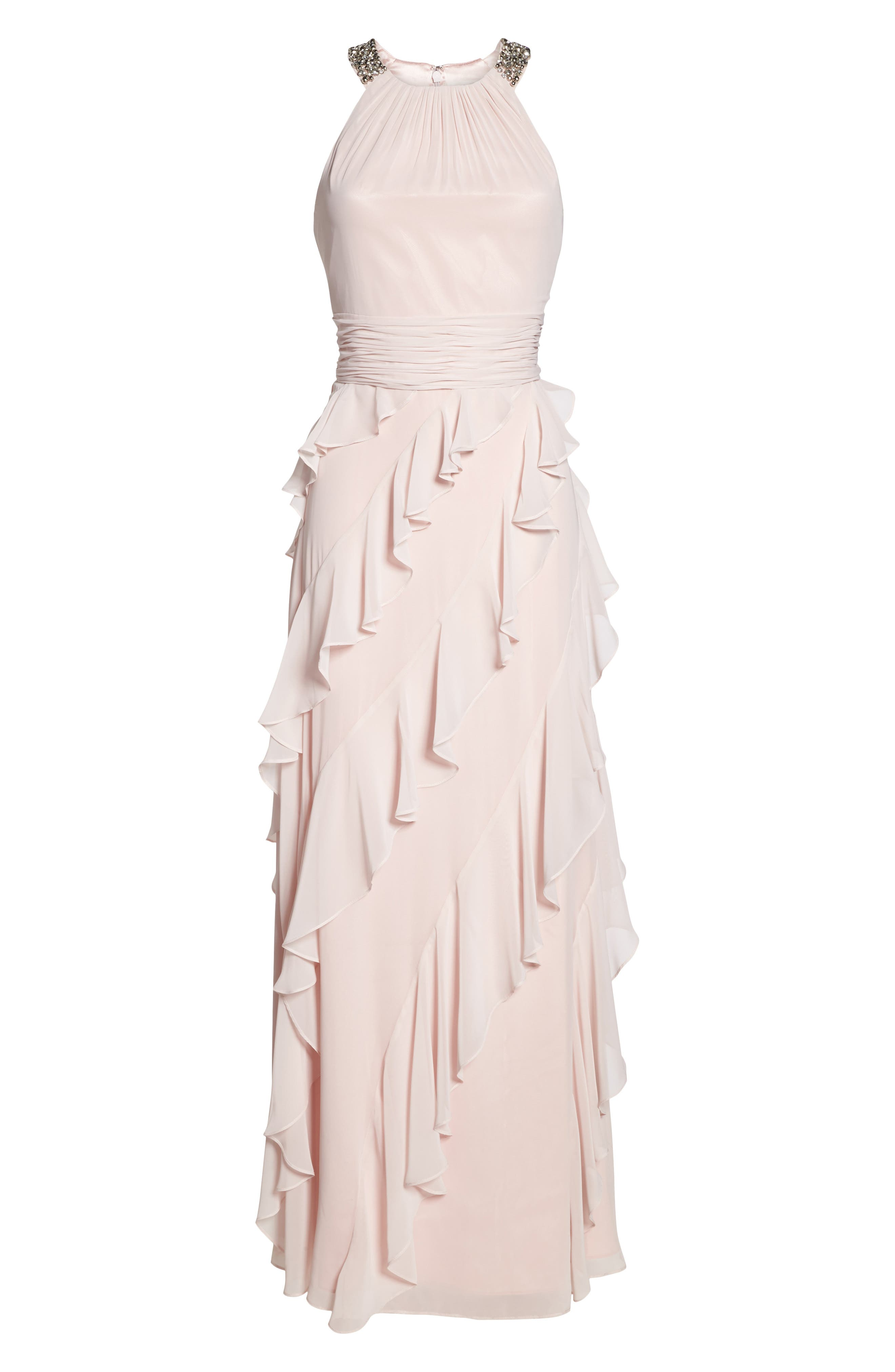 Embellished Ruffle Chiffon Gown,                             Alternate thumbnail 7, color,                             684
