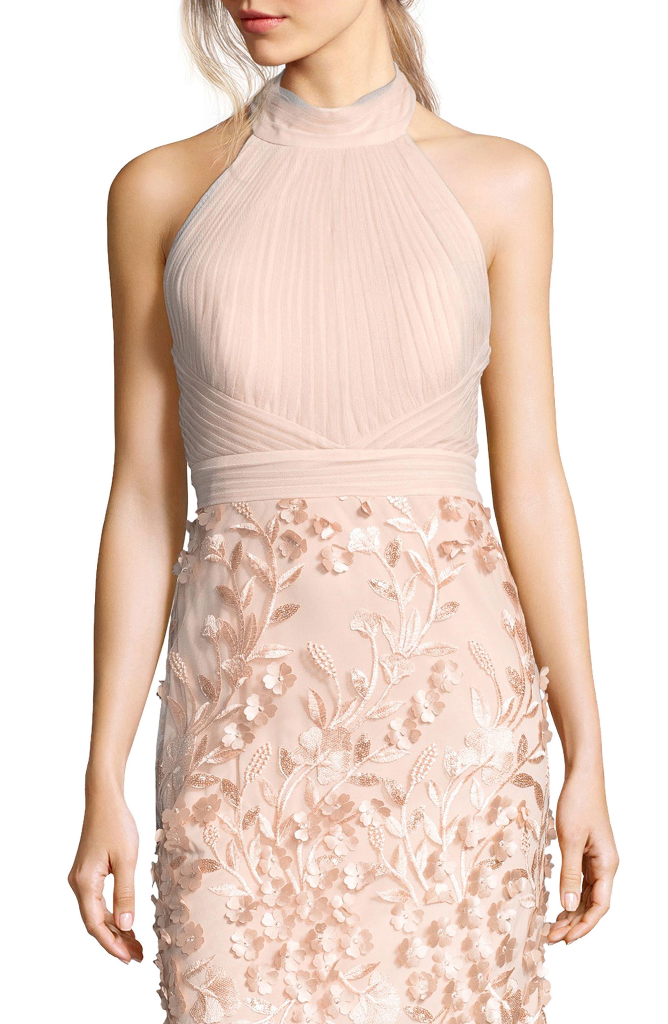 Petal Tulle Halter Gown,                             Alternate thumbnail 3, color,                             684