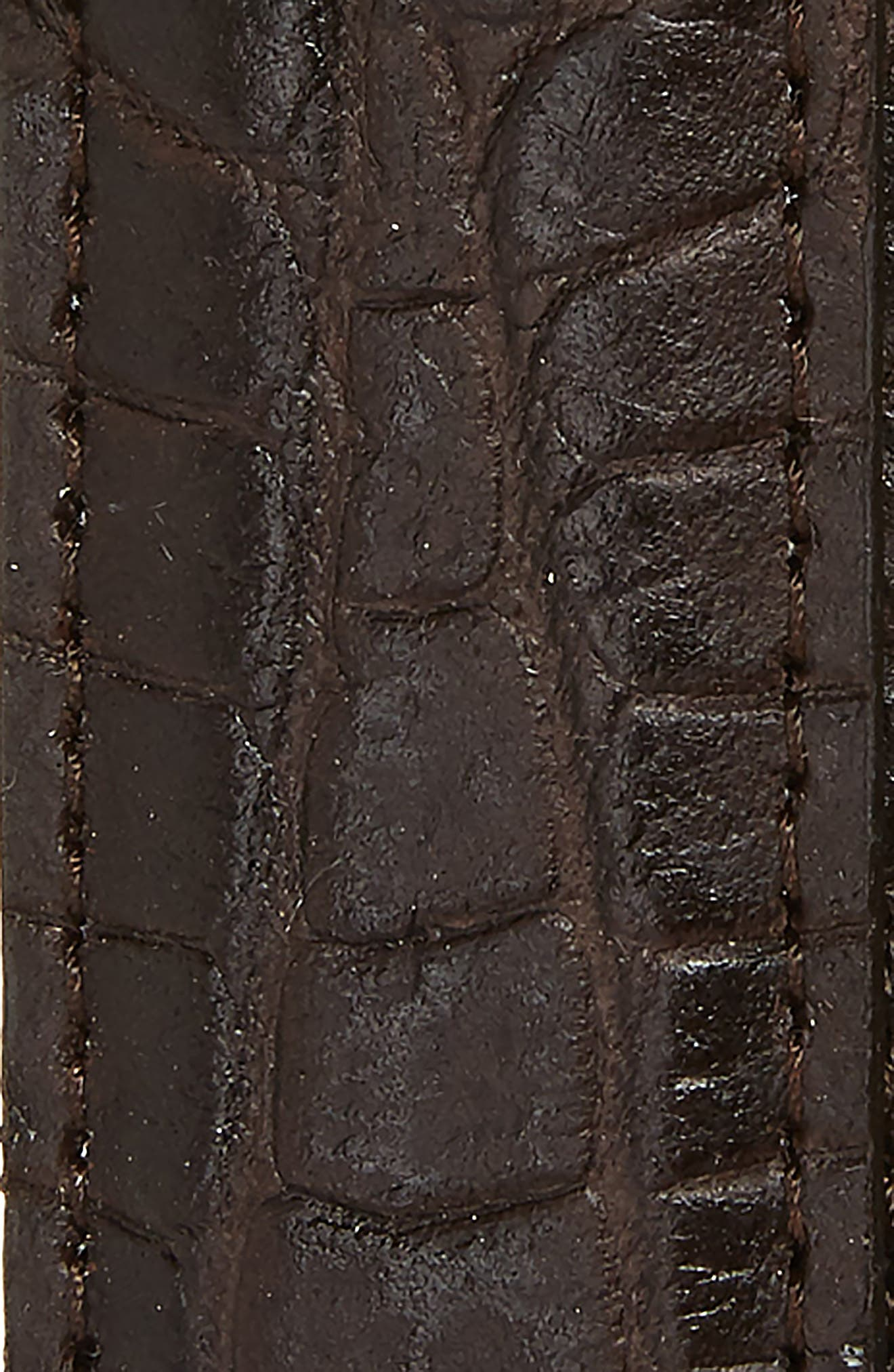 Croc Embossed Leather Belt,                             Alternate thumbnail 2, color,                             BROWN