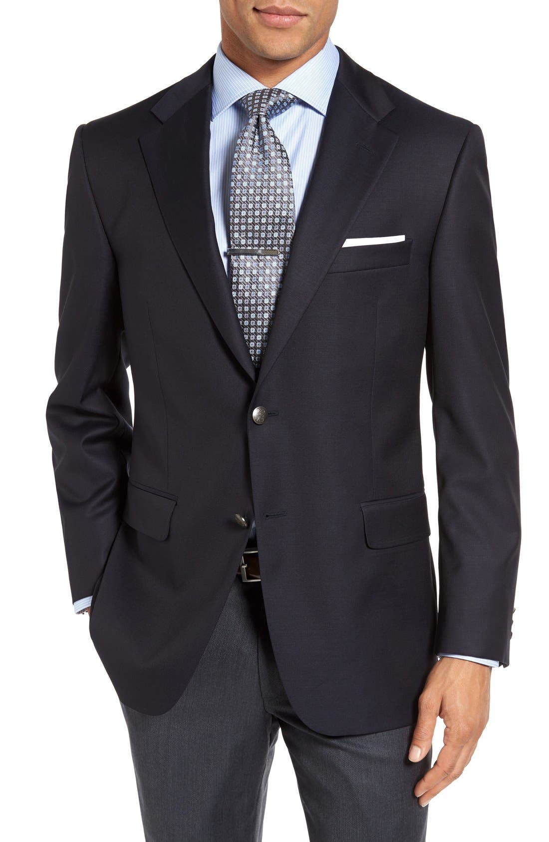 Classic B Fit Wool Travel Blazer,                         Main,                         color, NAVY