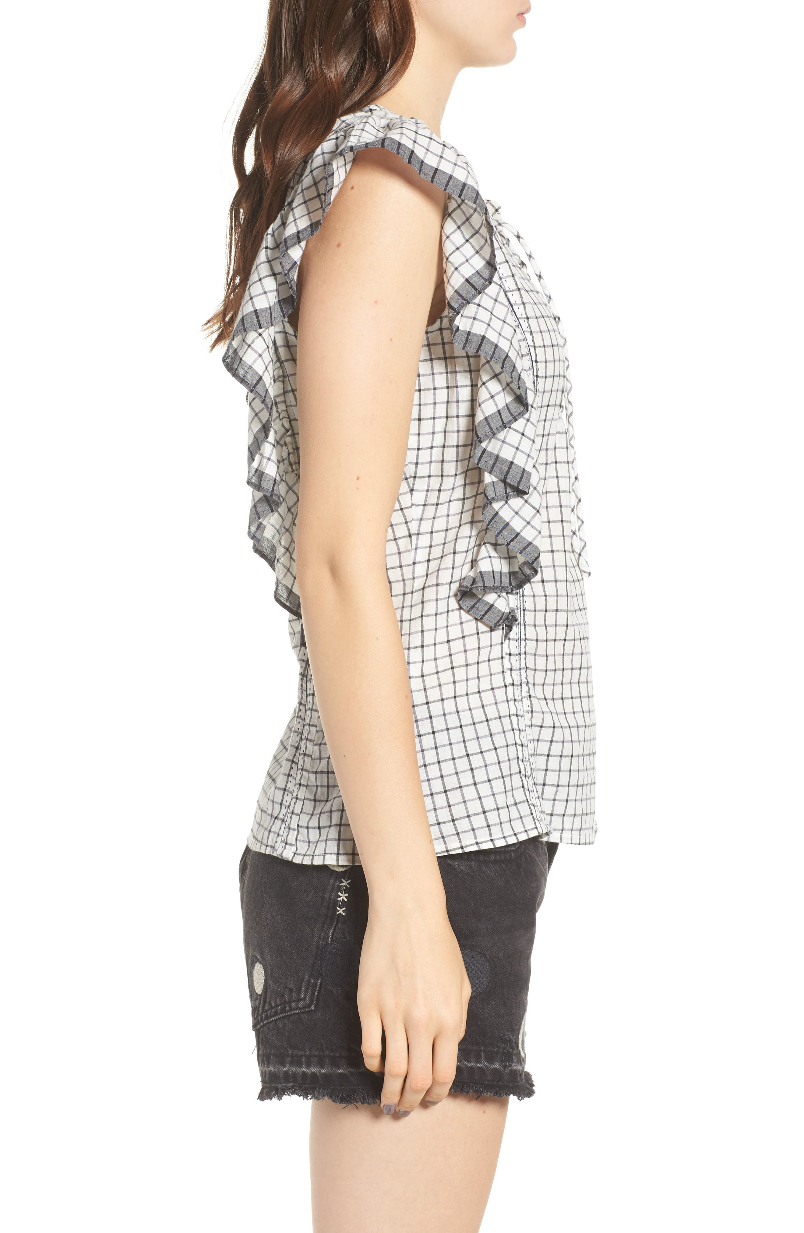 Ruffle Check Top,                             Alternate thumbnail 3, color,