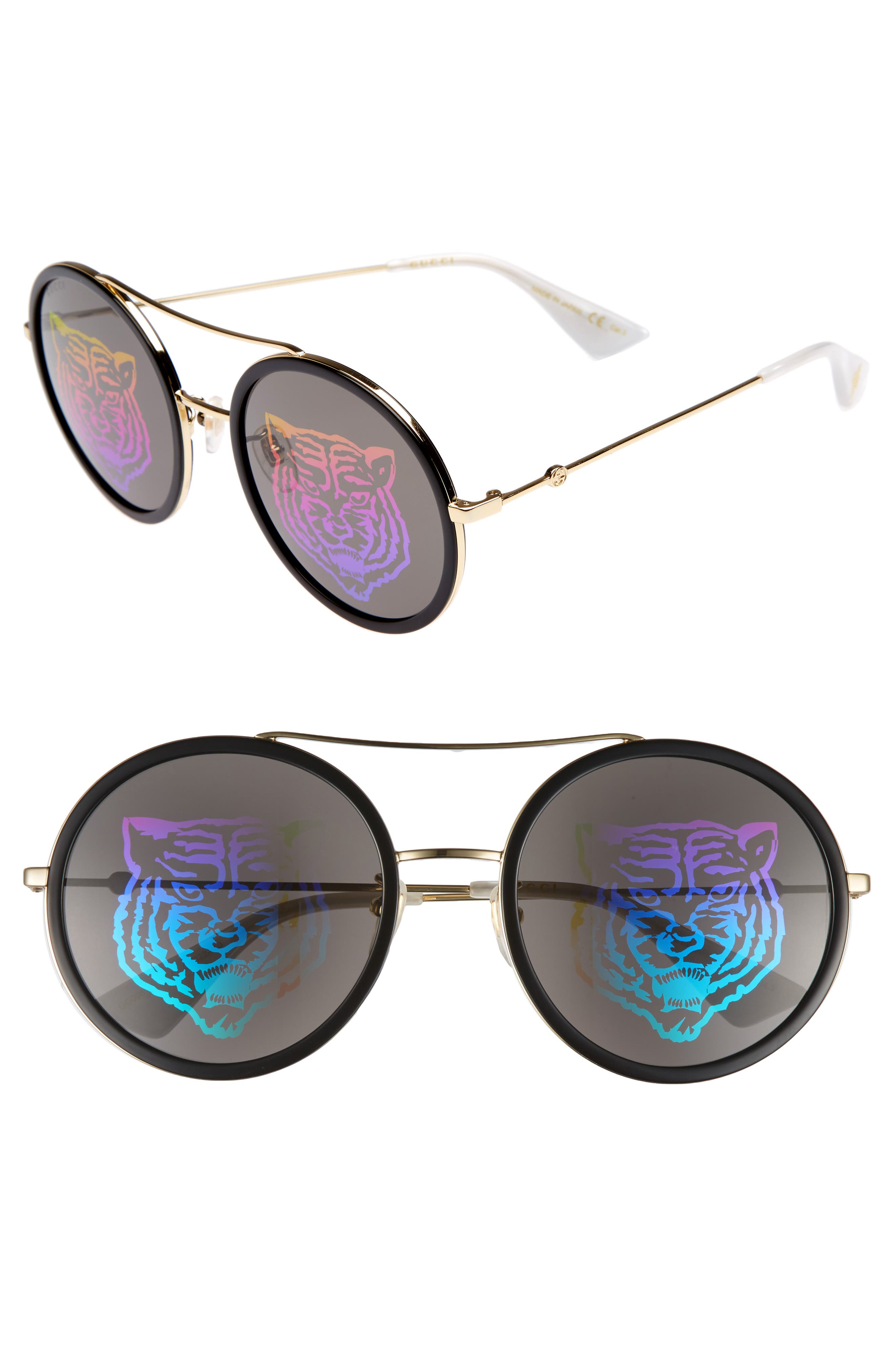 56mm Round Mirrored Aviator Sunglasses,                             Main thumbnail 1, color,                             GOLD/ TIGER