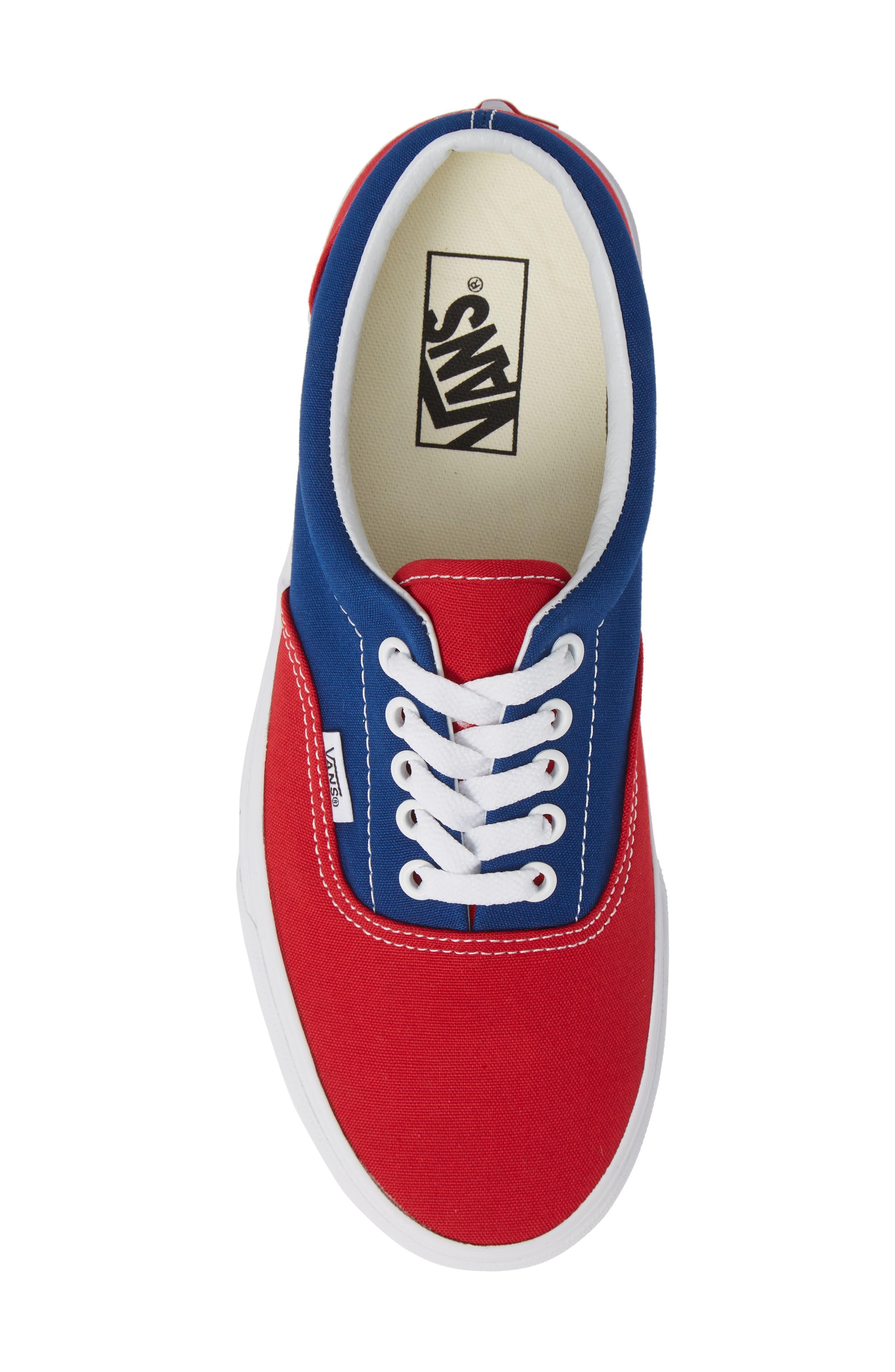 BMX Checkerboard Era Sneaker,                             Alternate thumbnail 5, color,                             BLUE/ RED CHECKER CANVAS