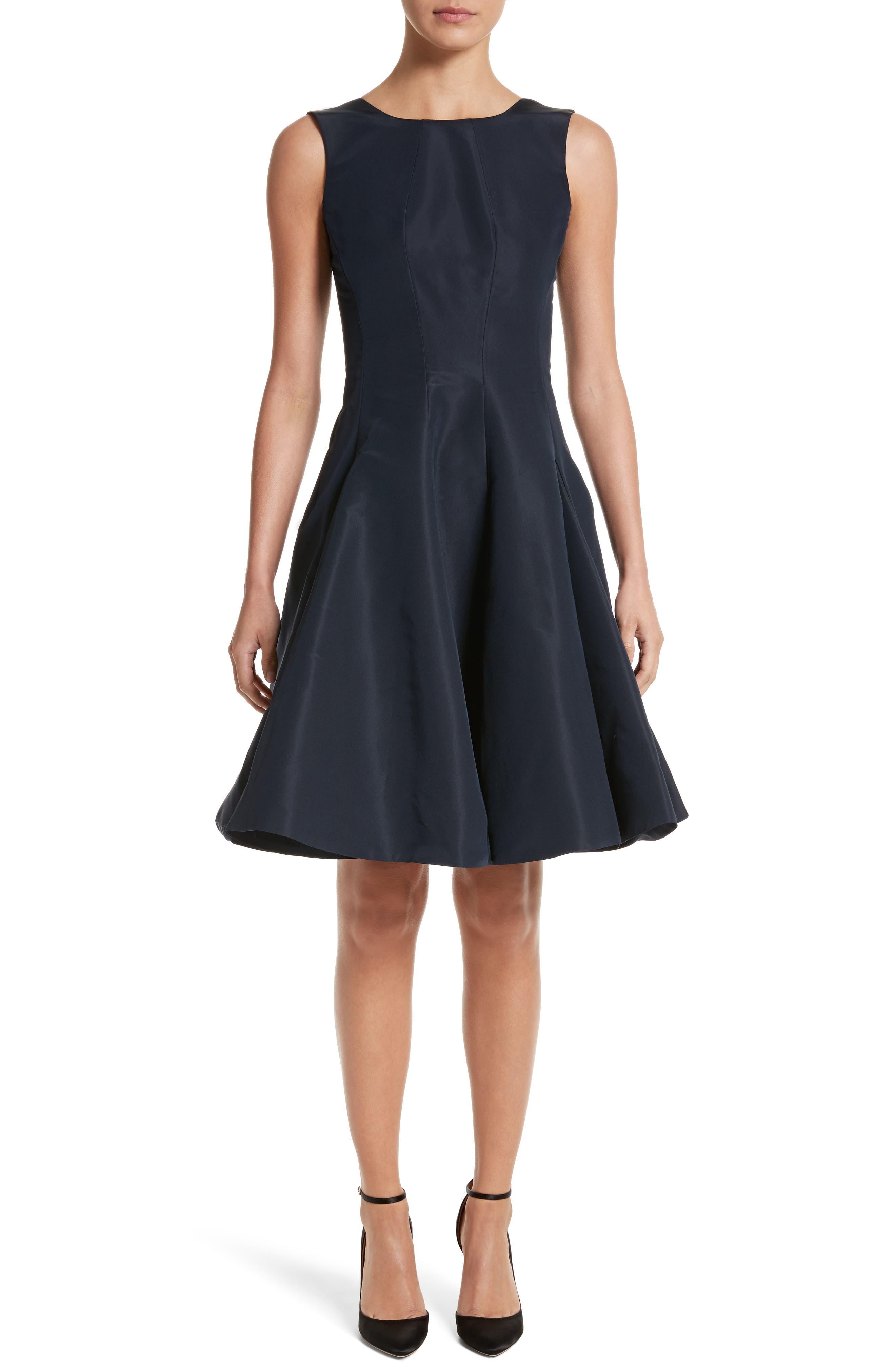 Scoop Back Pleat Silk Faille Dress,                             Alternate thumbnail 5, color,                             001
