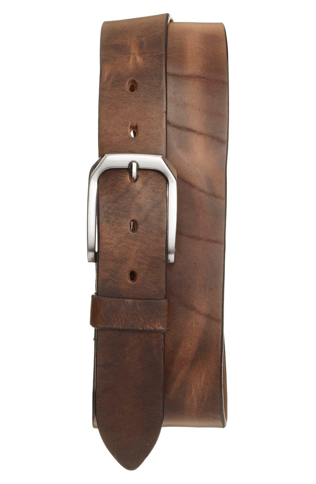 'Gunner' Leather Belt,                             Alternate thumbnail 4, color,                             NATURAL