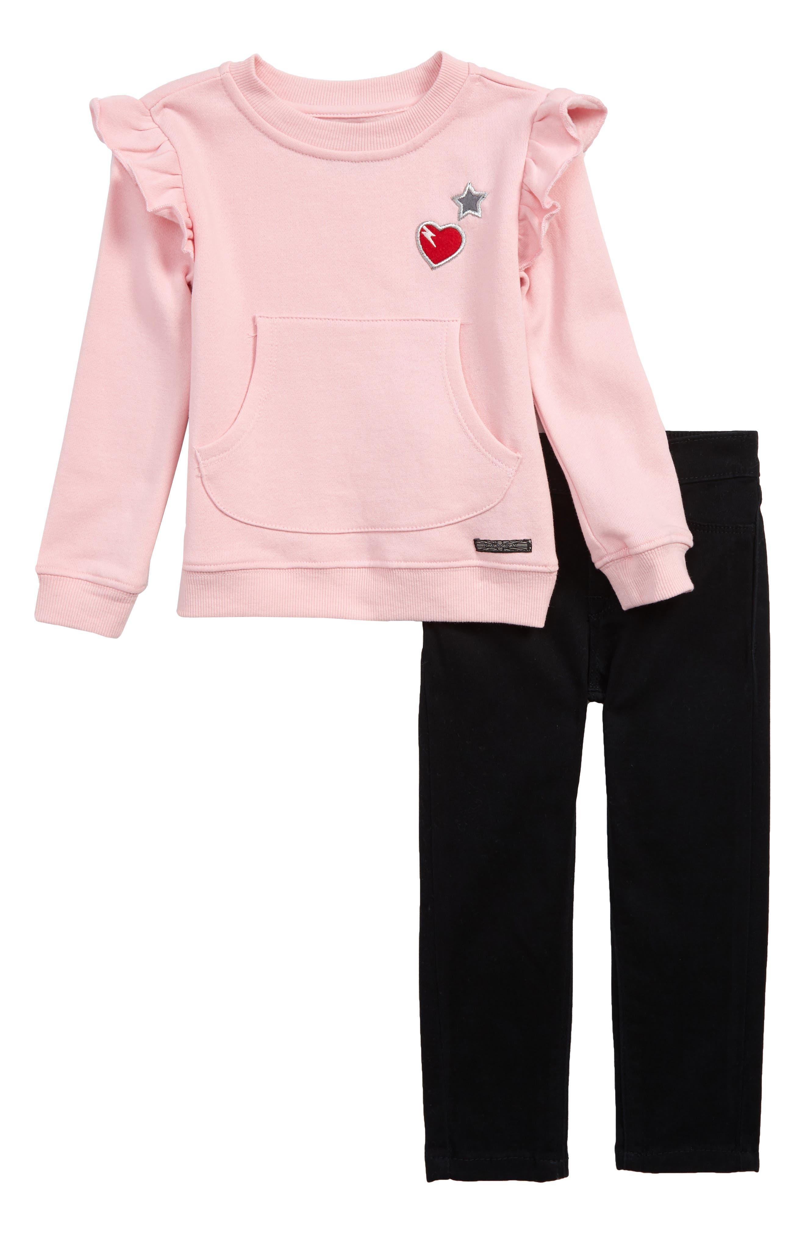 Toddler Girls Hudson Kids Ruffled Sweatshirt  Jeans Set