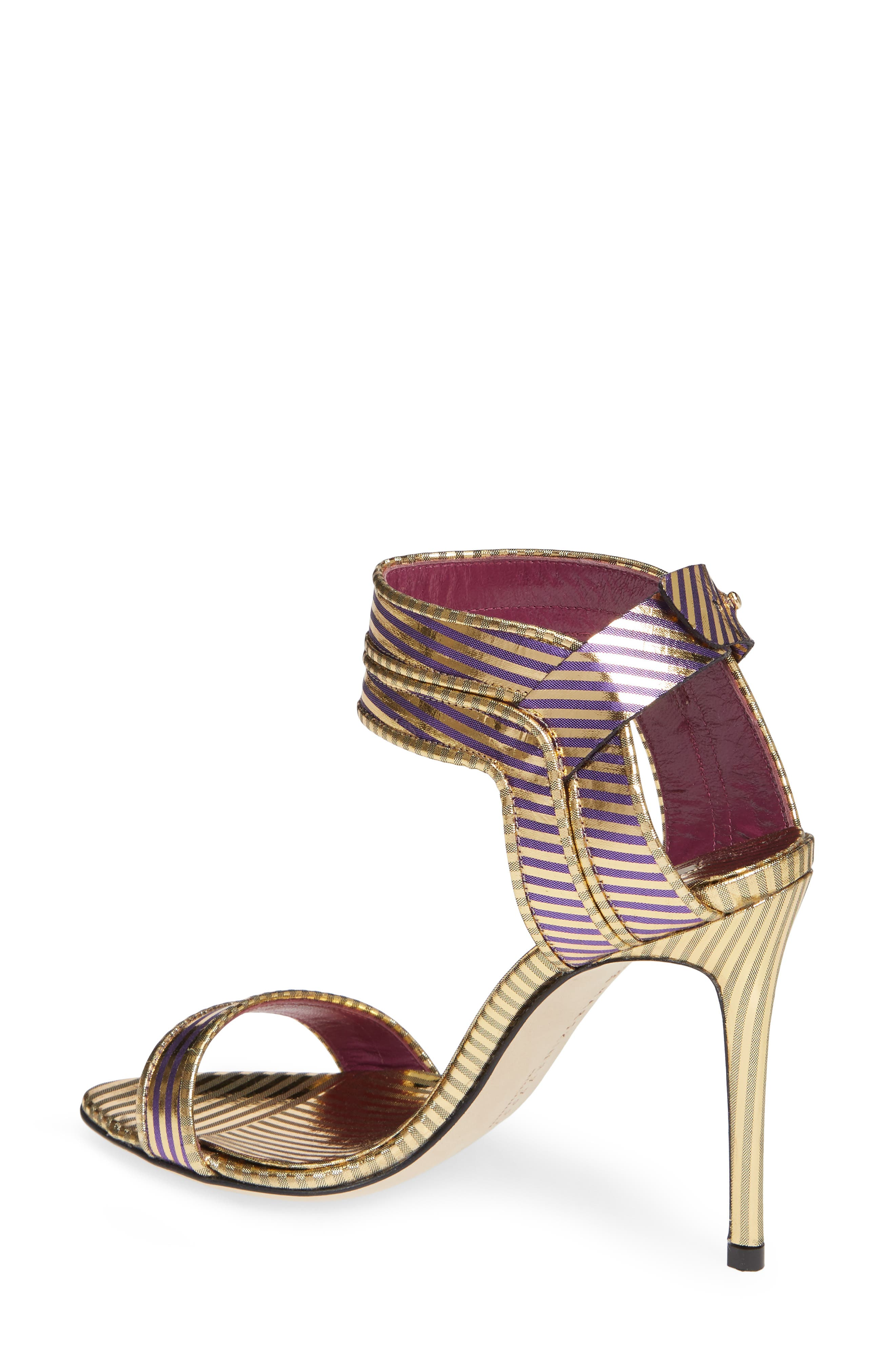 Wynona Stripe Sandal,                             Alternate thumbnail 2, color,                             GOLD PURPLE STRIPED