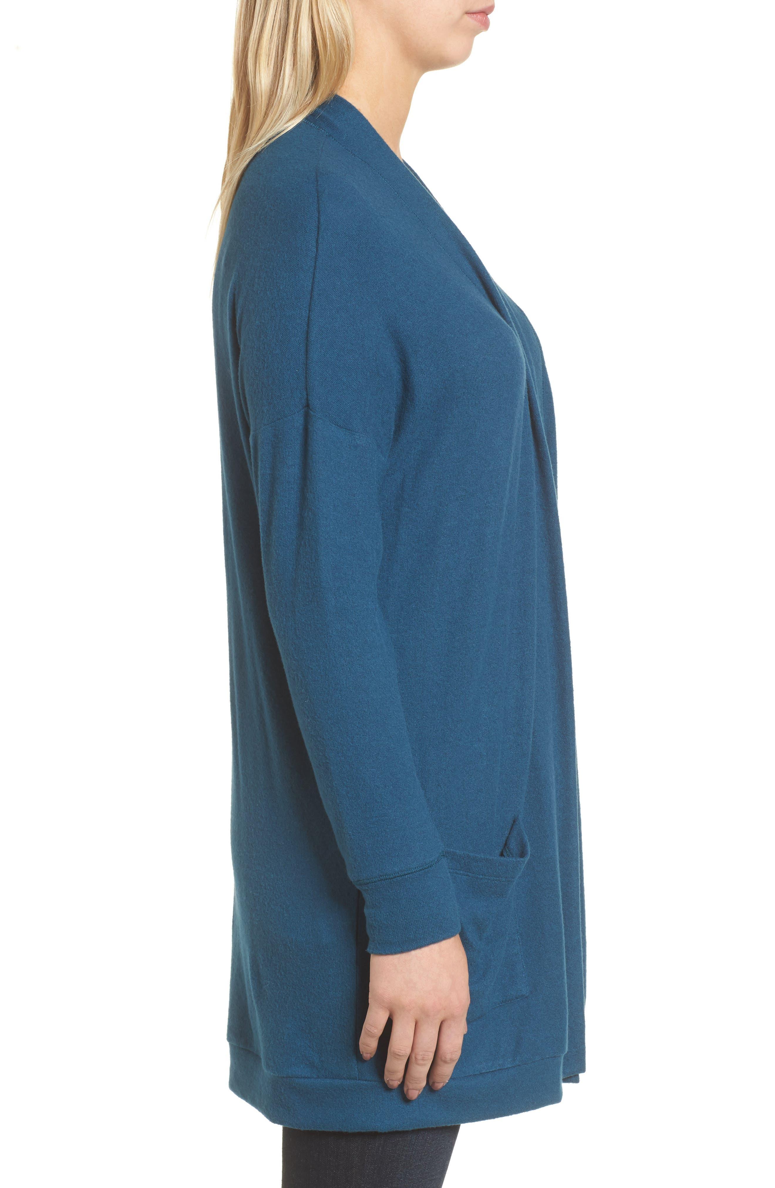 Rib Knit Cardigan,                             Alternate thumbnail 3, color,                             BLUE CERAMIC