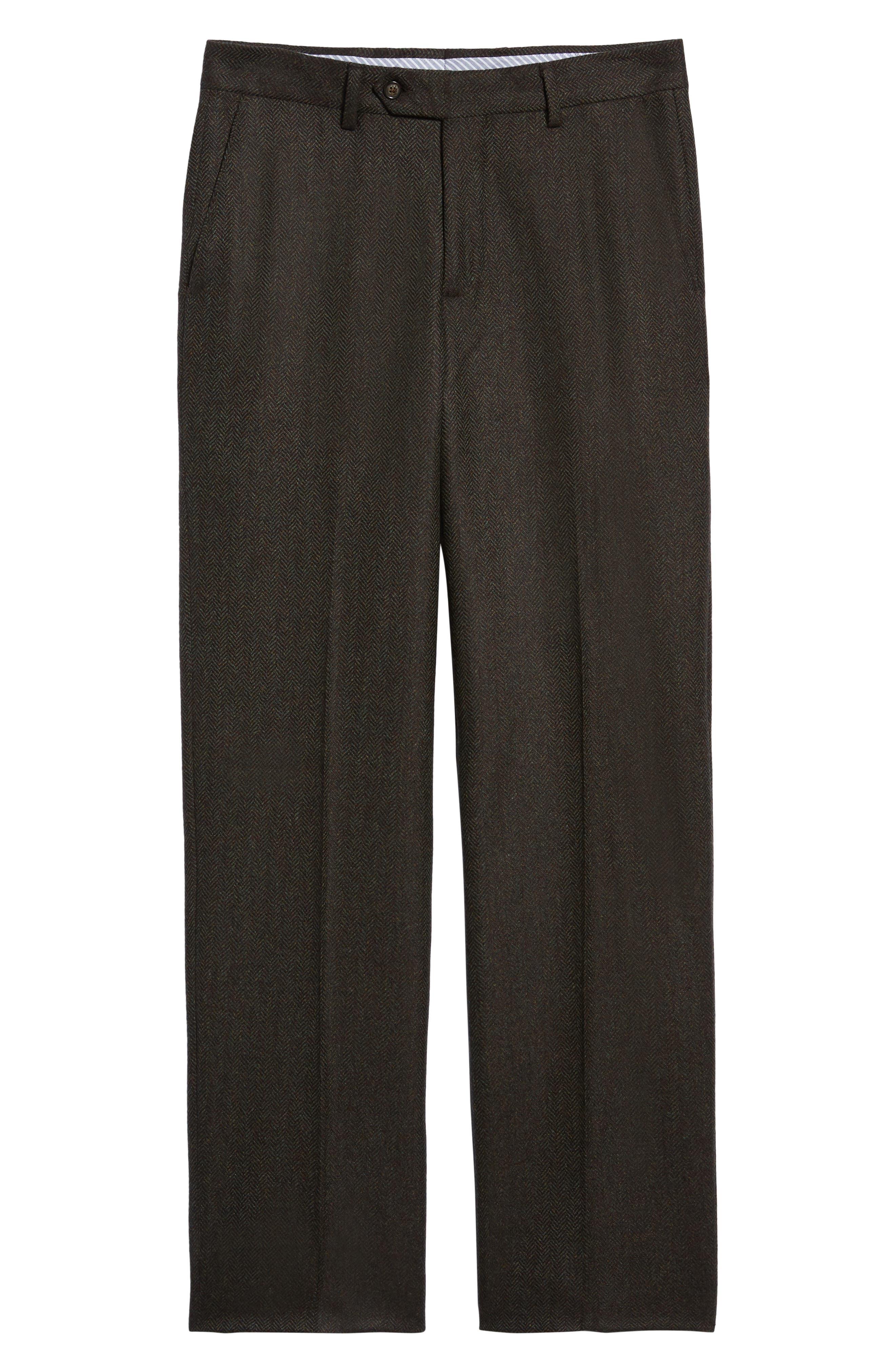 Flat Front Herringbone Wool & Cashmere Trousers,                             Alternate thumbnail 6, color,                             DARK OLIVE
