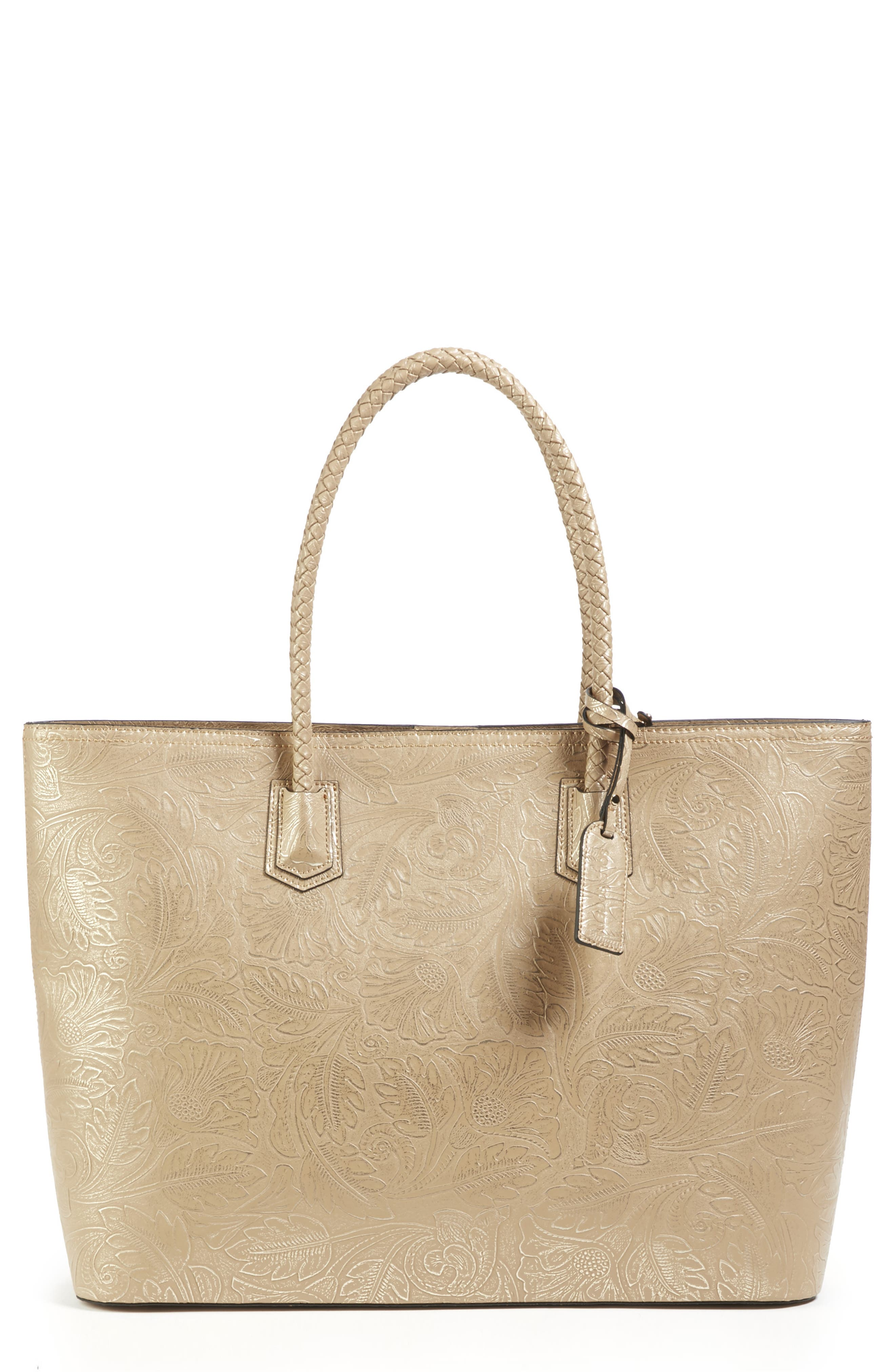 Hawna Faux Leather Tote,                         Main,                         color, METALLIC LINEN