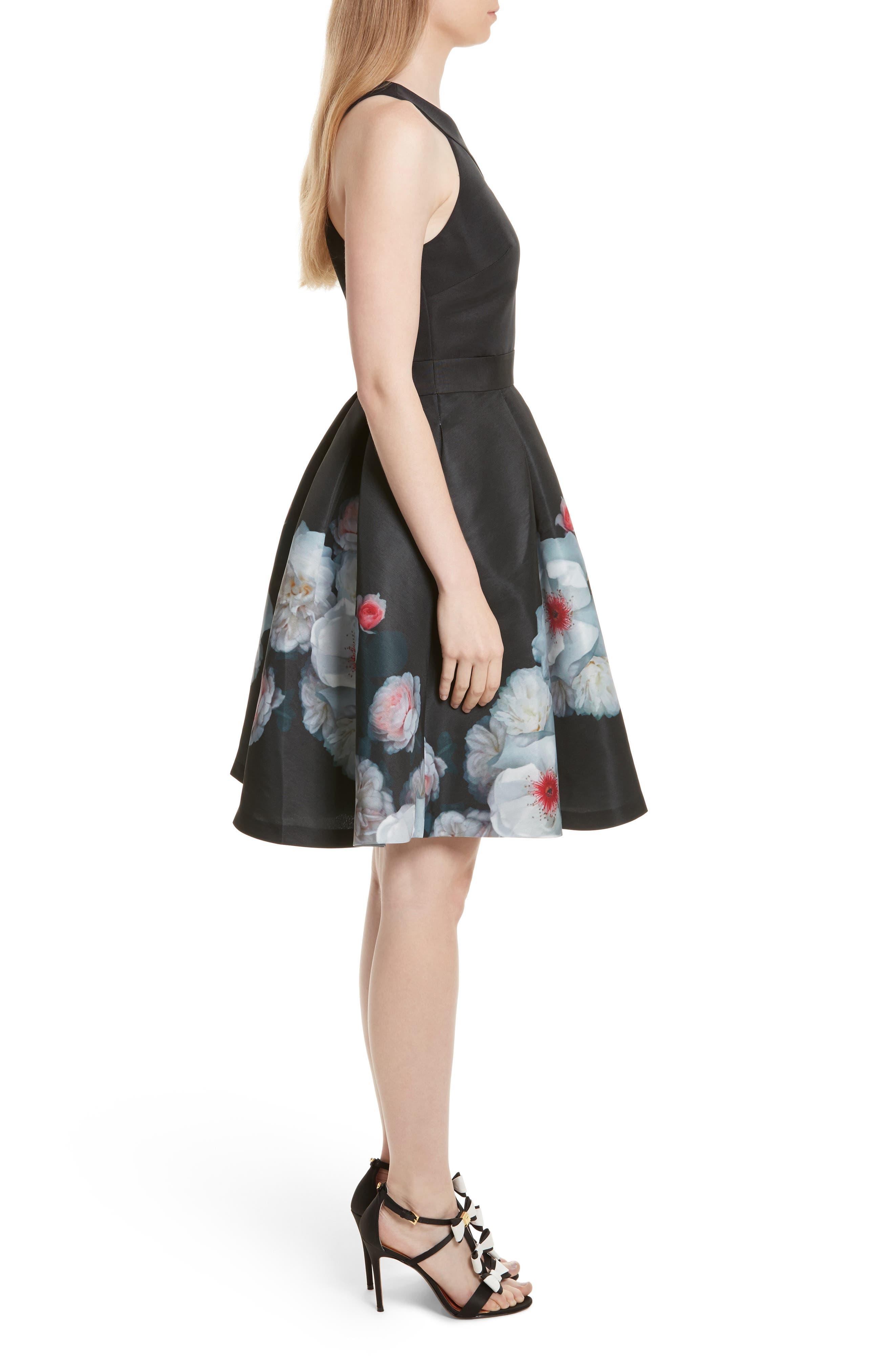 Jelina Chelsea Floral Fit & Flare Dress,                             Alternate thumbnail 3, color,                             001