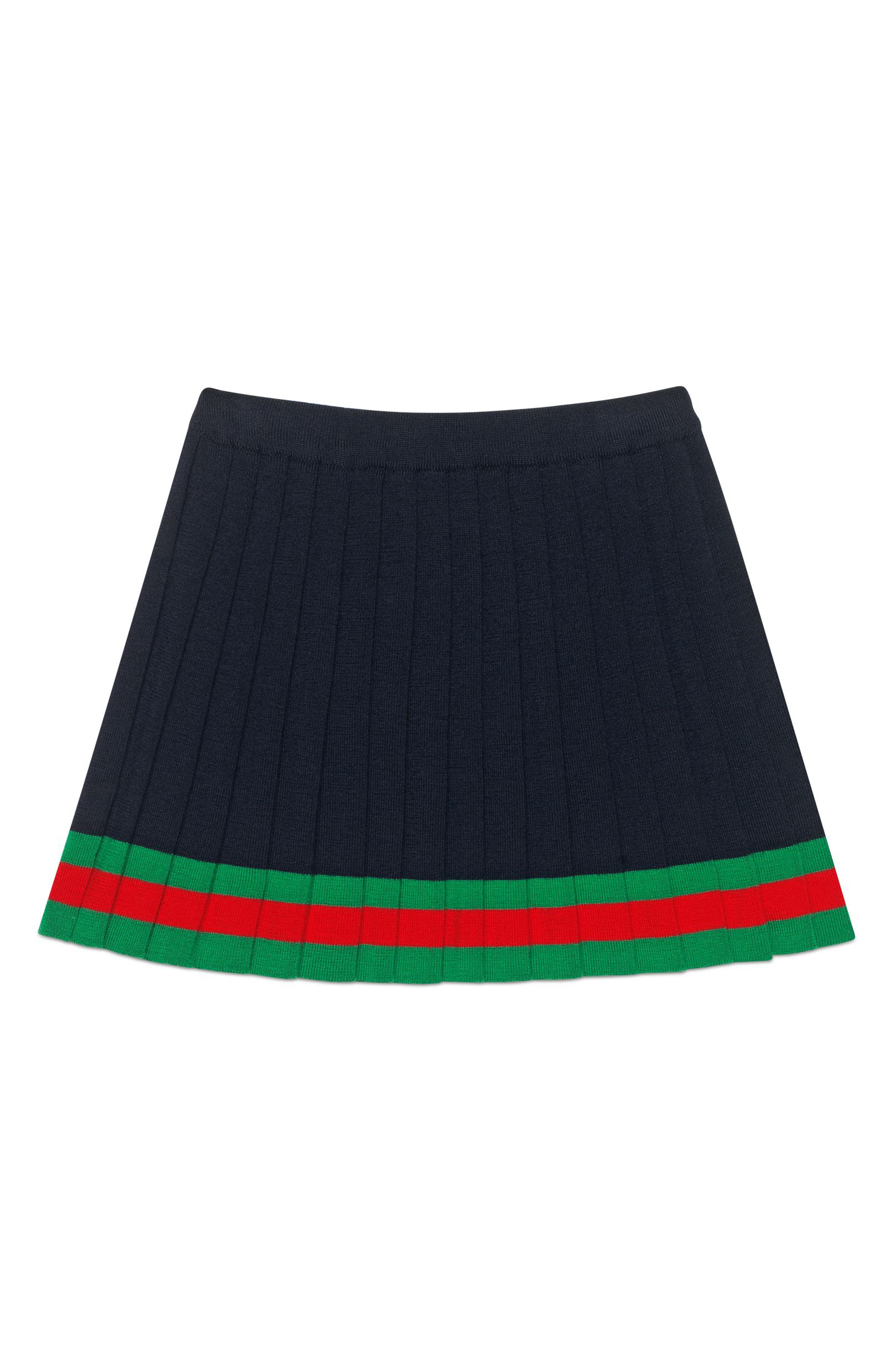 Pleated Wool Knit Skirt,                             Alternate thumbnail 2, color,                             NAVY/ SHAMROCK/ L.RED