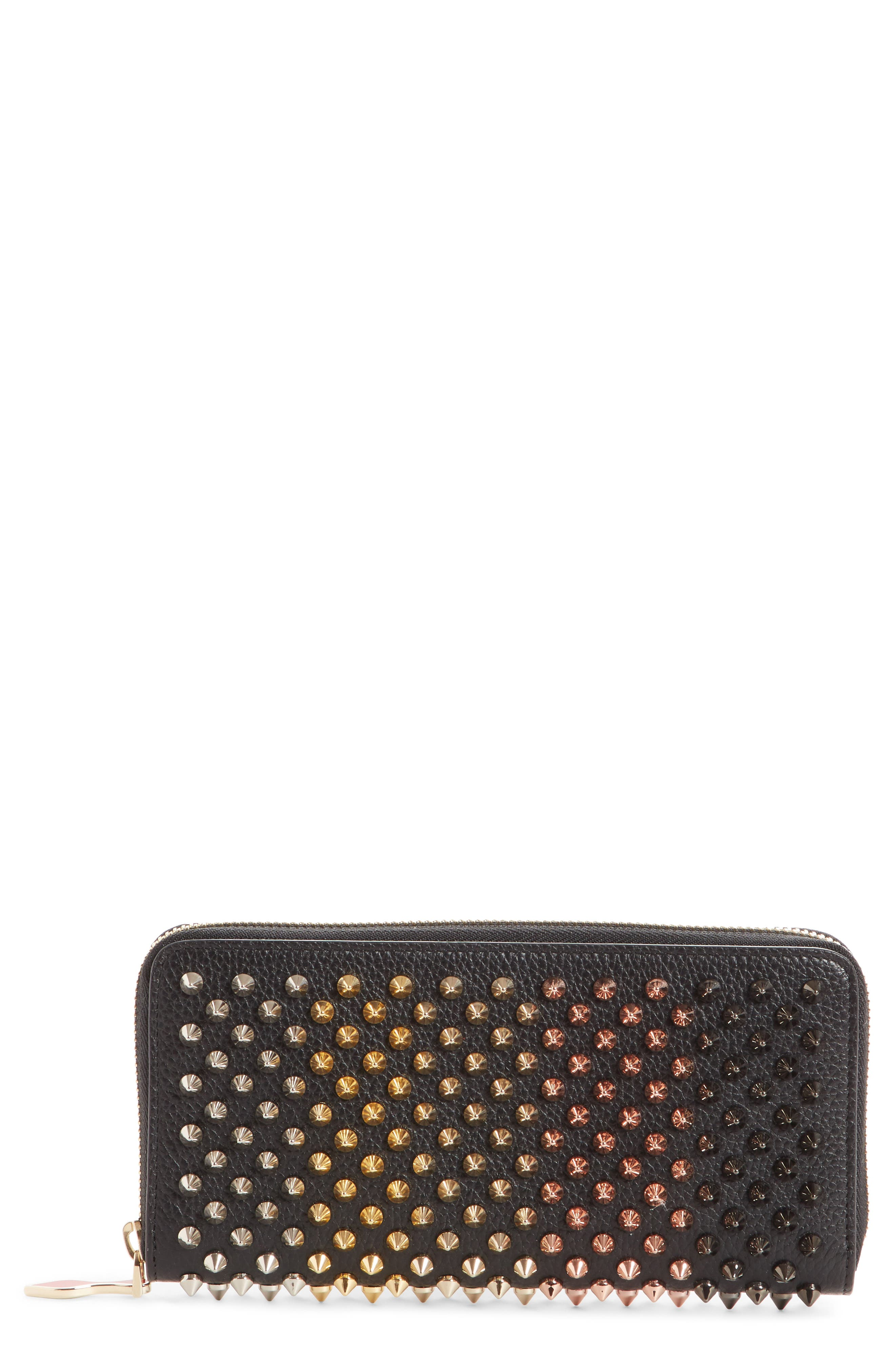 Panettone Spiked Leather Wallet,                             Main thumbnail 1, color,                             BLACK/ MULTIMETAL