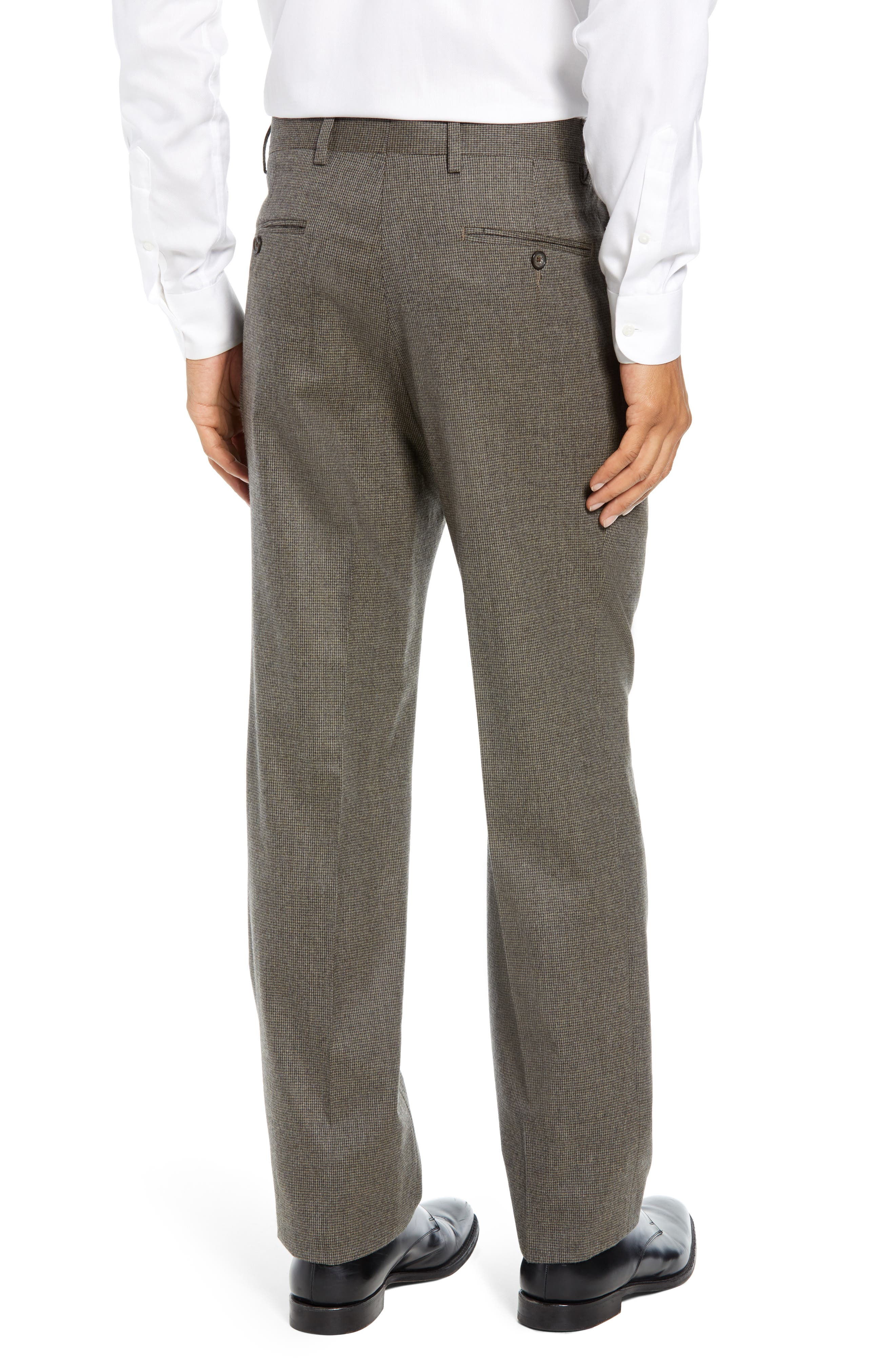 Pleated Stretch Houndstooth Wool Trousers,                             Alternate thumbnail 2, color,                             TAN