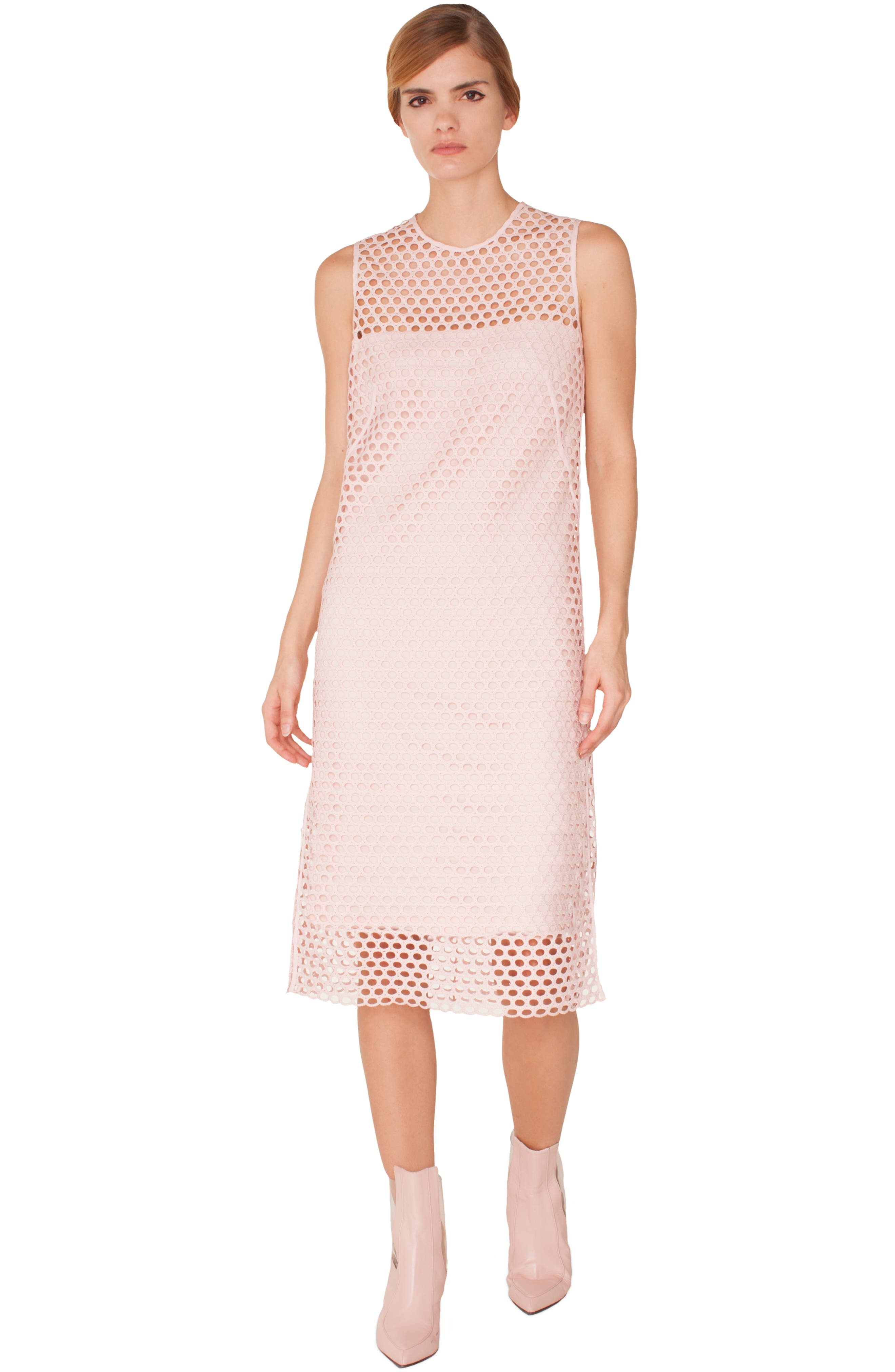 Crochet Shift Dress,                             Alternate thumbnail 3, color,                             PINK ROSE