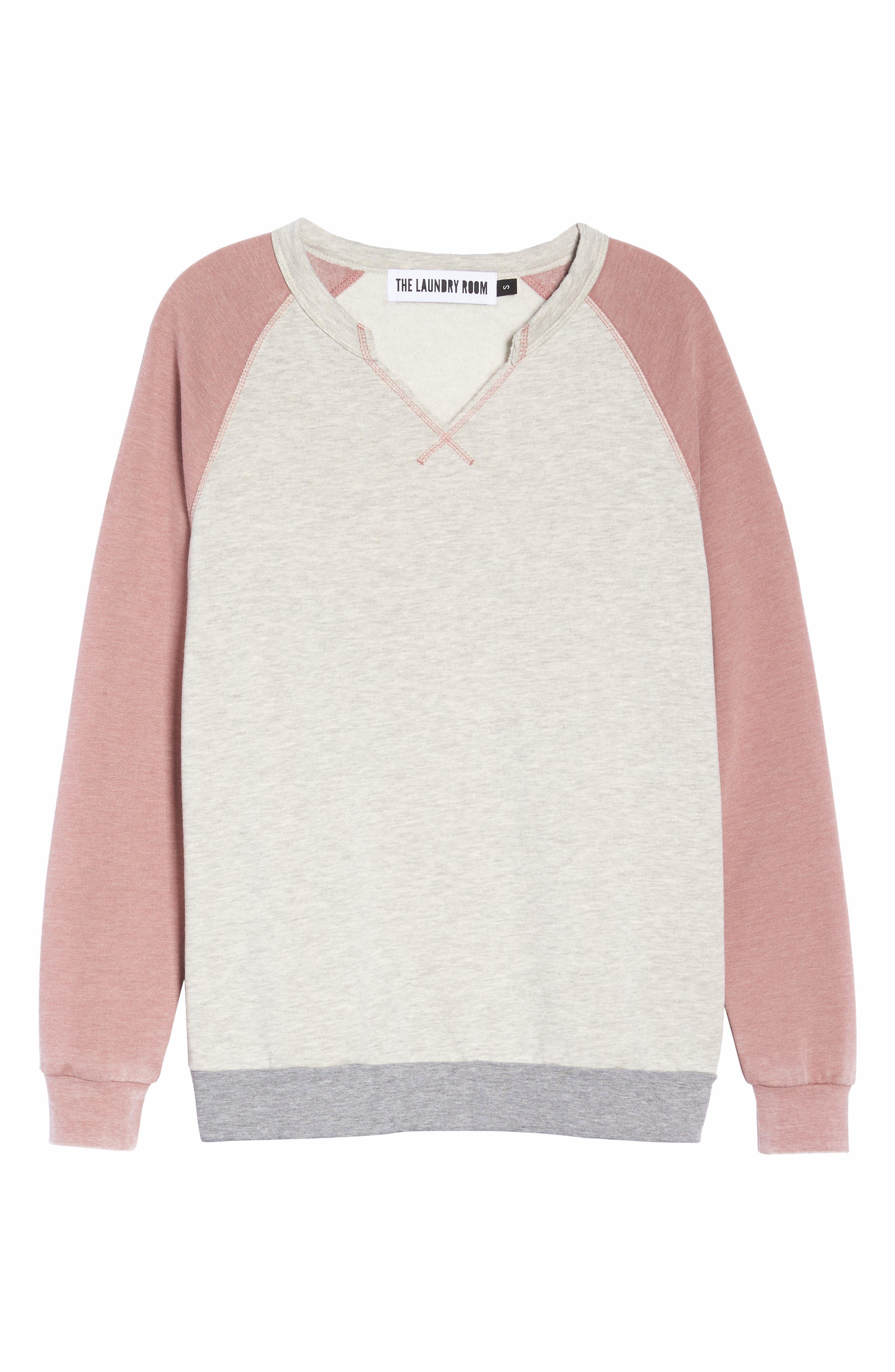 Sweatshirt,                             Alternate thumbnail 6, color,                             PEBBLE HEATHER / MAUVE