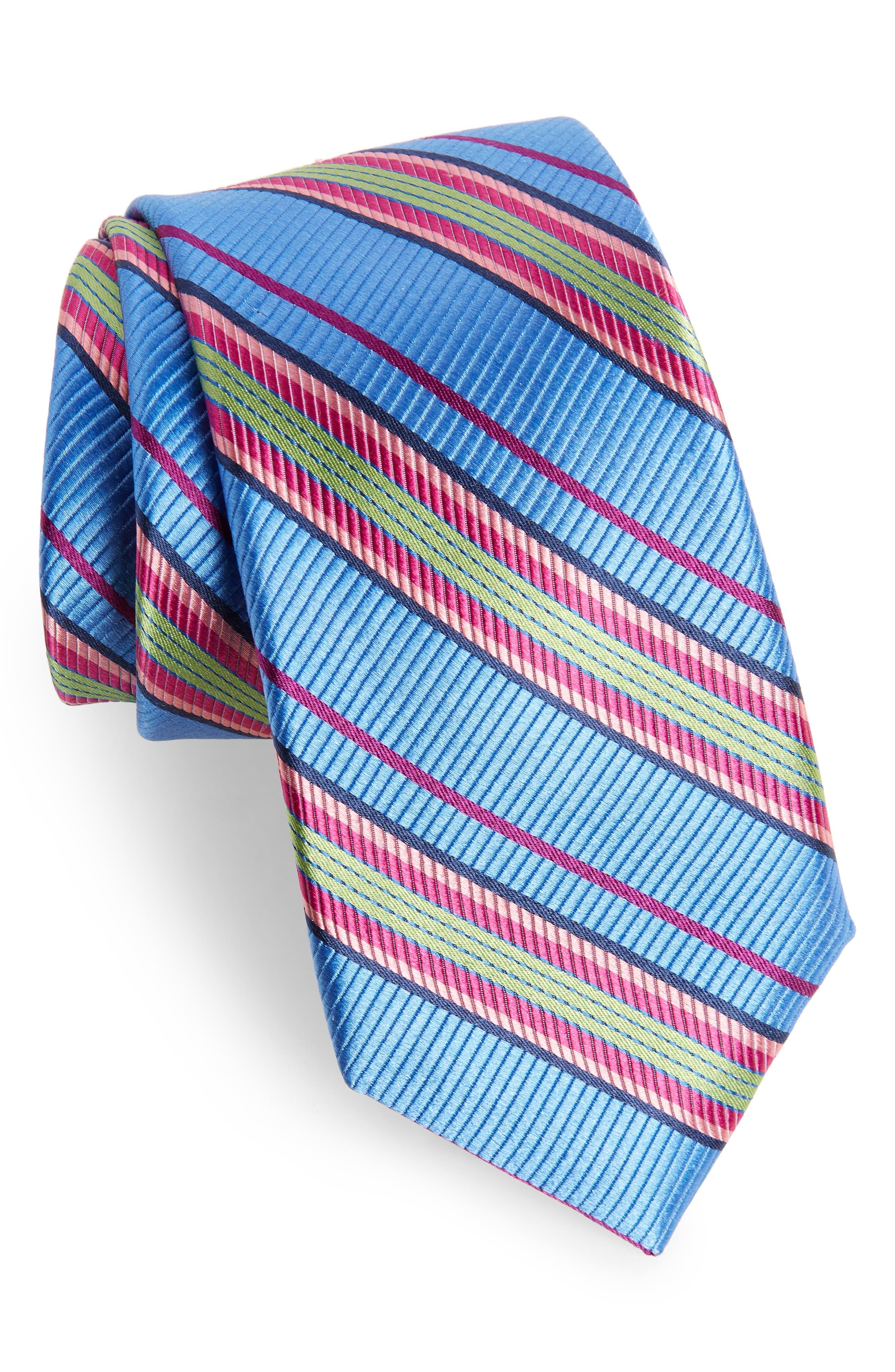 Soho Stripe Silk Tie,                             Main thumbnail 1, color,                             BLUE