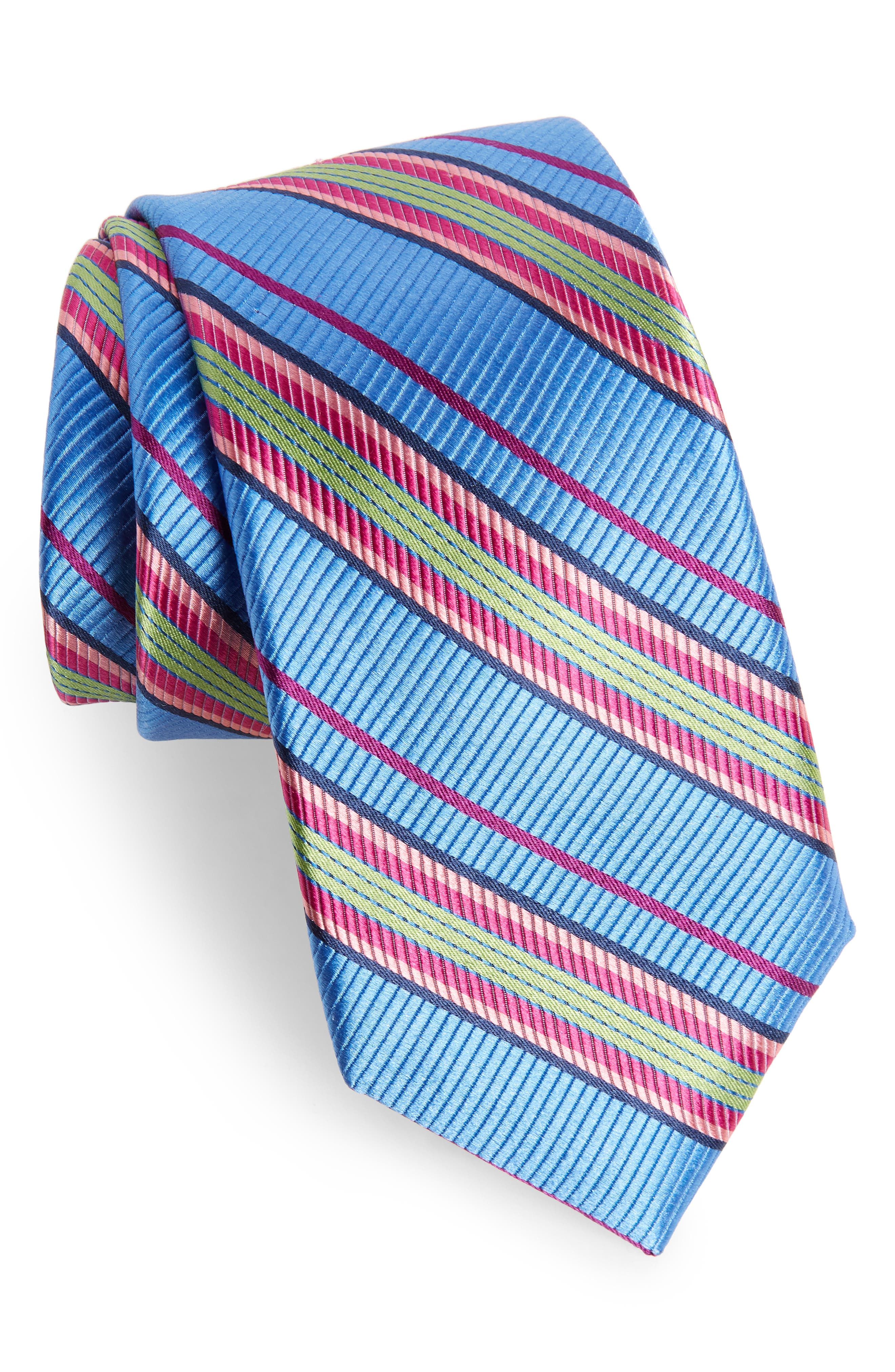 Soho Stripe Silk Tie,                         Main,                         color, BLUE