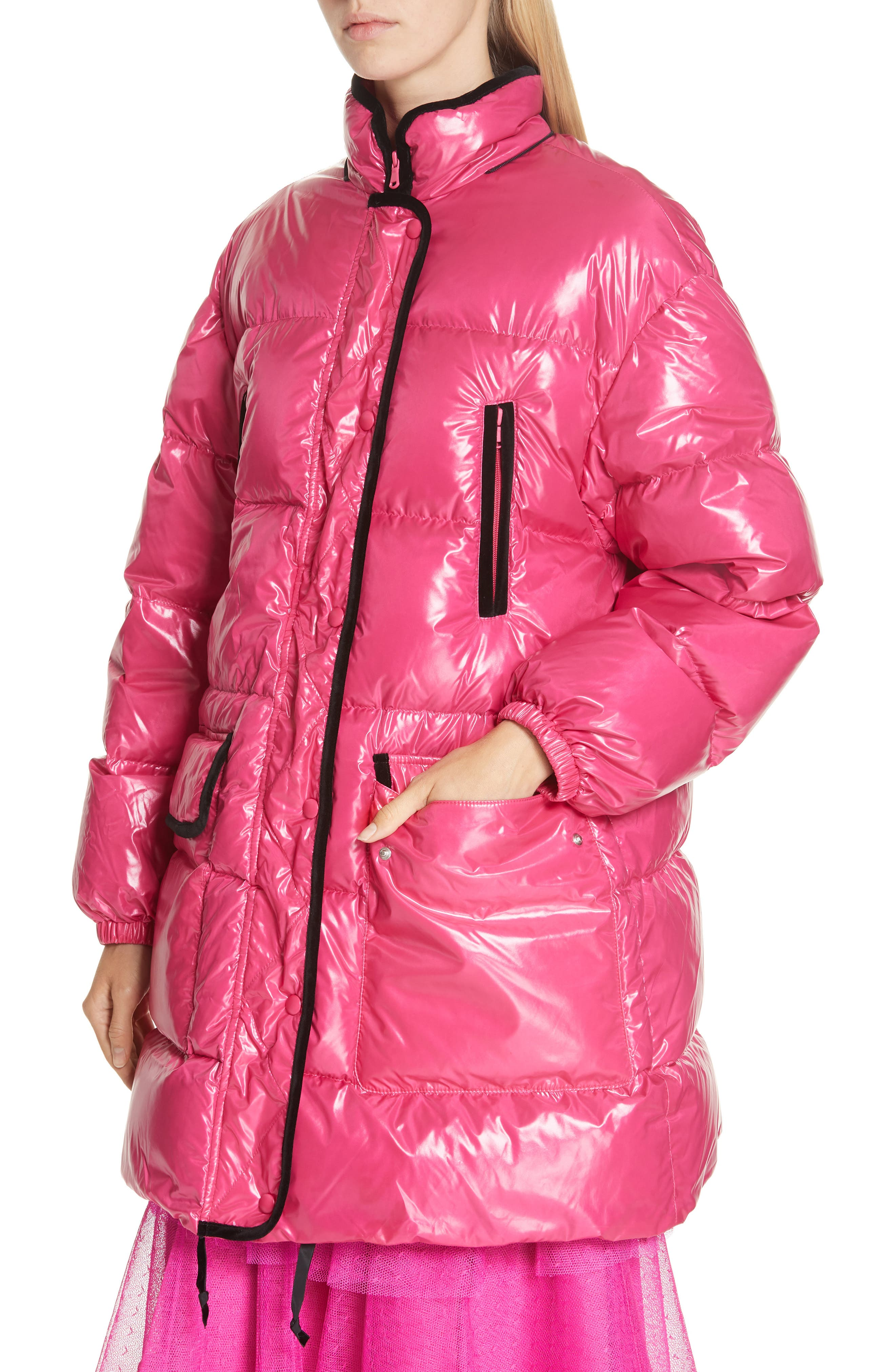 RED VALENTINO,                             Puffer Coat,                             Alternate thumbnail 4, color,                             650