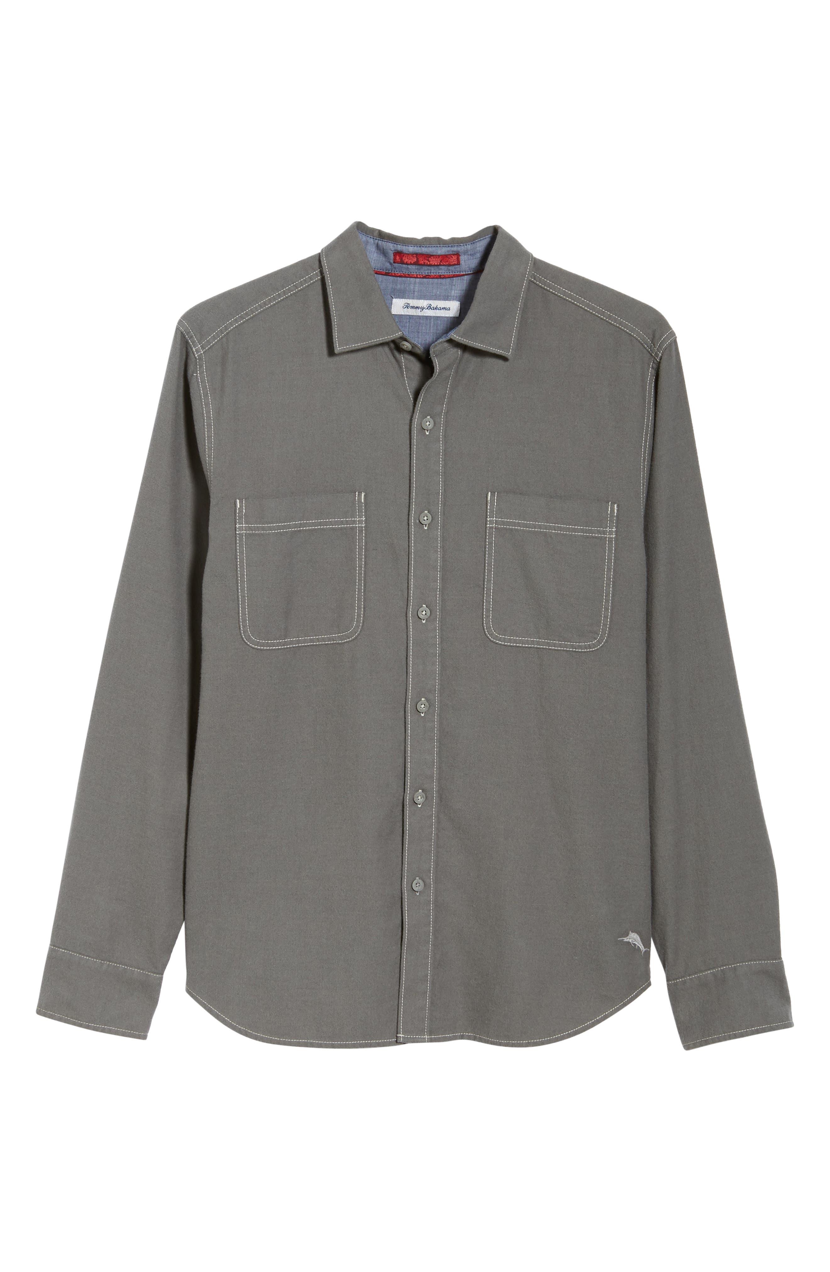 Bonfire Beach Flannel Shirt,                             Alternate thumbnail 6, color,                             CAVE