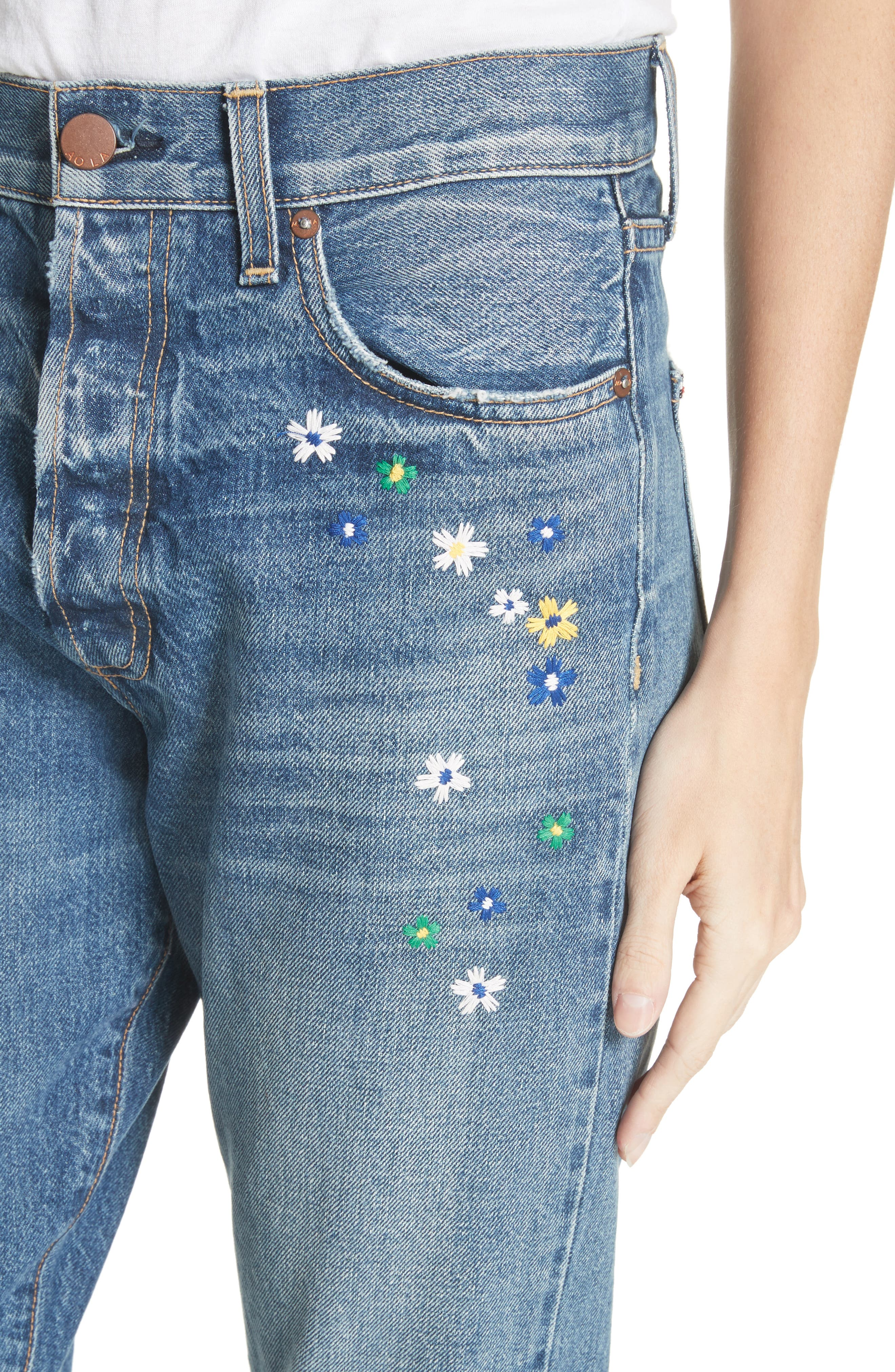 AO.LA Amazing Embroidered Slim Girlfriend Jeans,                             Alternate thumbnail 4, color,                             496