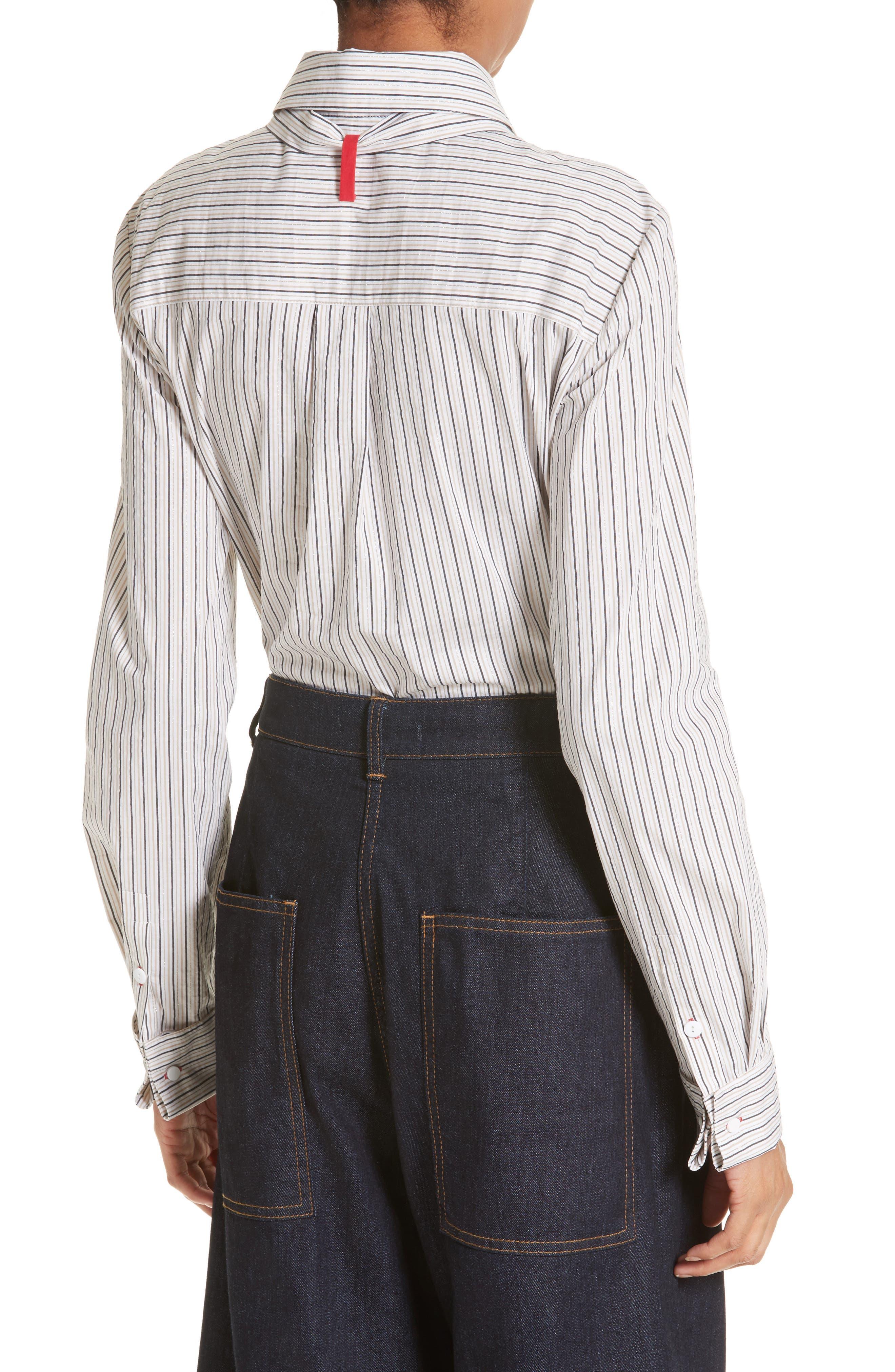 Stripe Slim Tie Neck Shirt,                             Alternate thumbnail 2, color,                             200