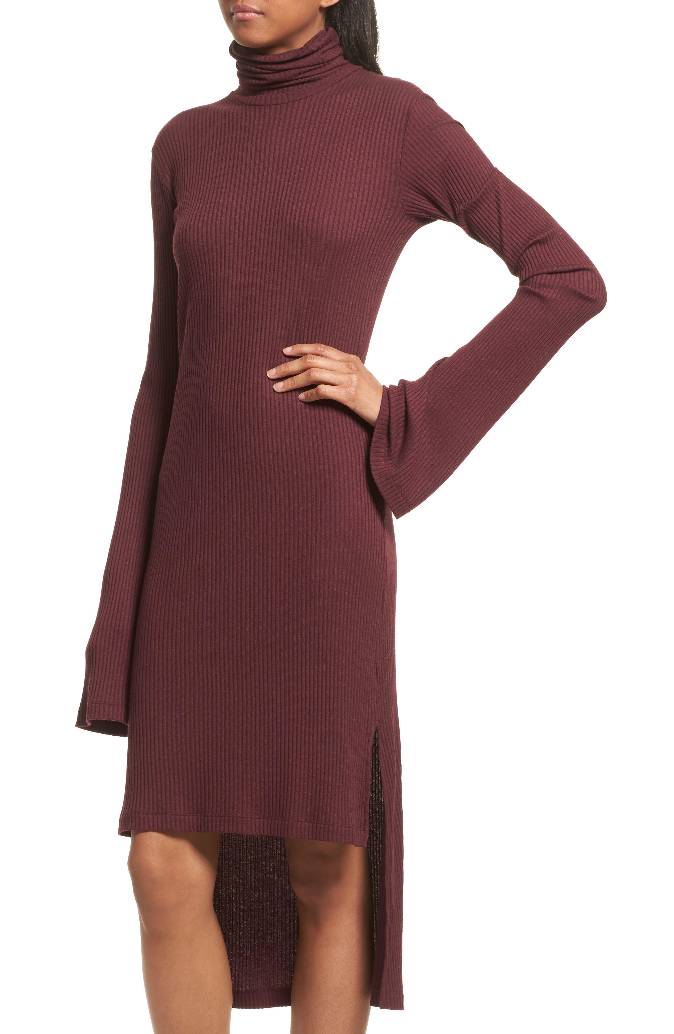 Step Hem Turtleneck Dress,                             Alternate thumbnail 4, color,                             931