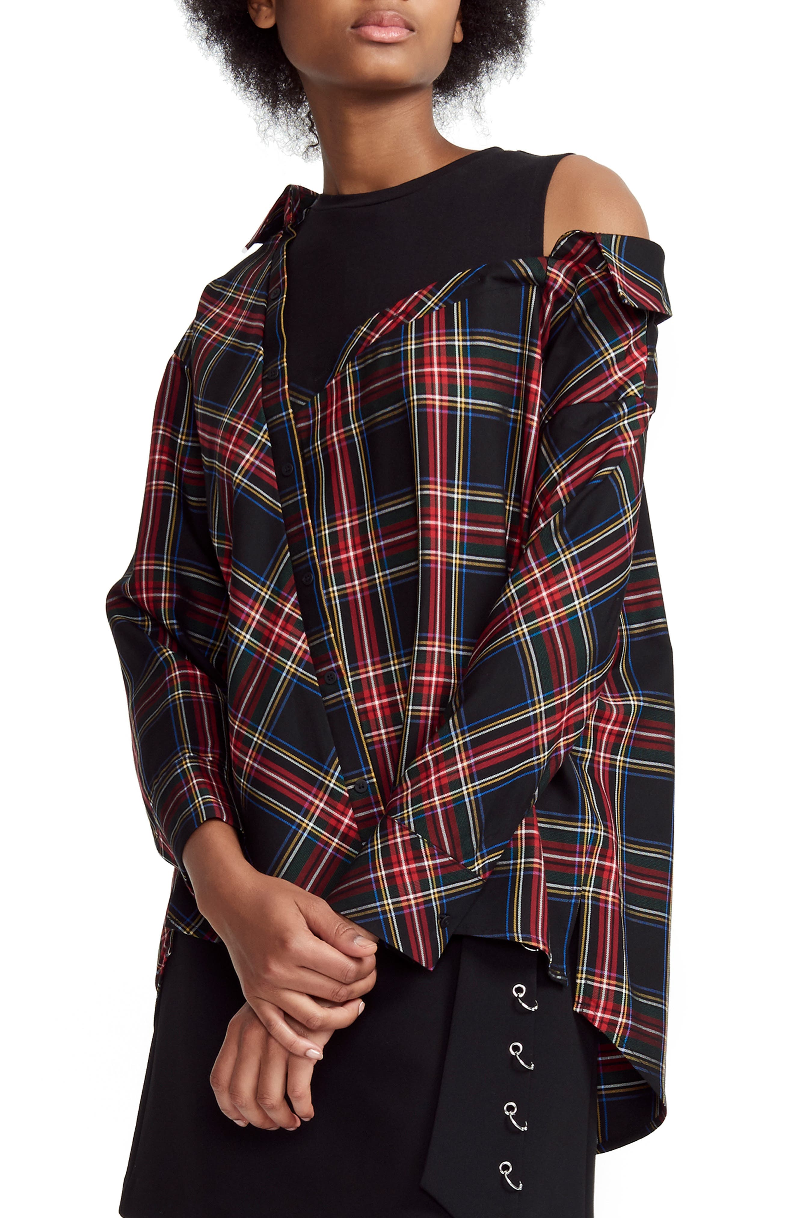 Layered Plaid Twill And Stretch-Cotton Jersey Top in Red