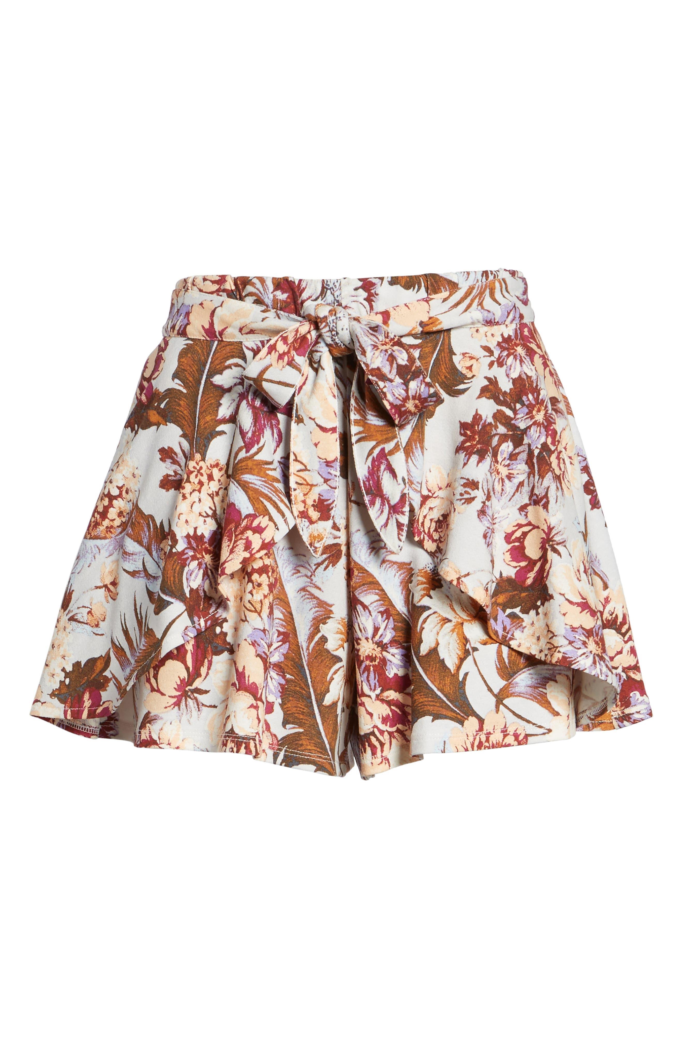 Print Tulip Hem Shorts,                             Alternate thumbnail 6, color,