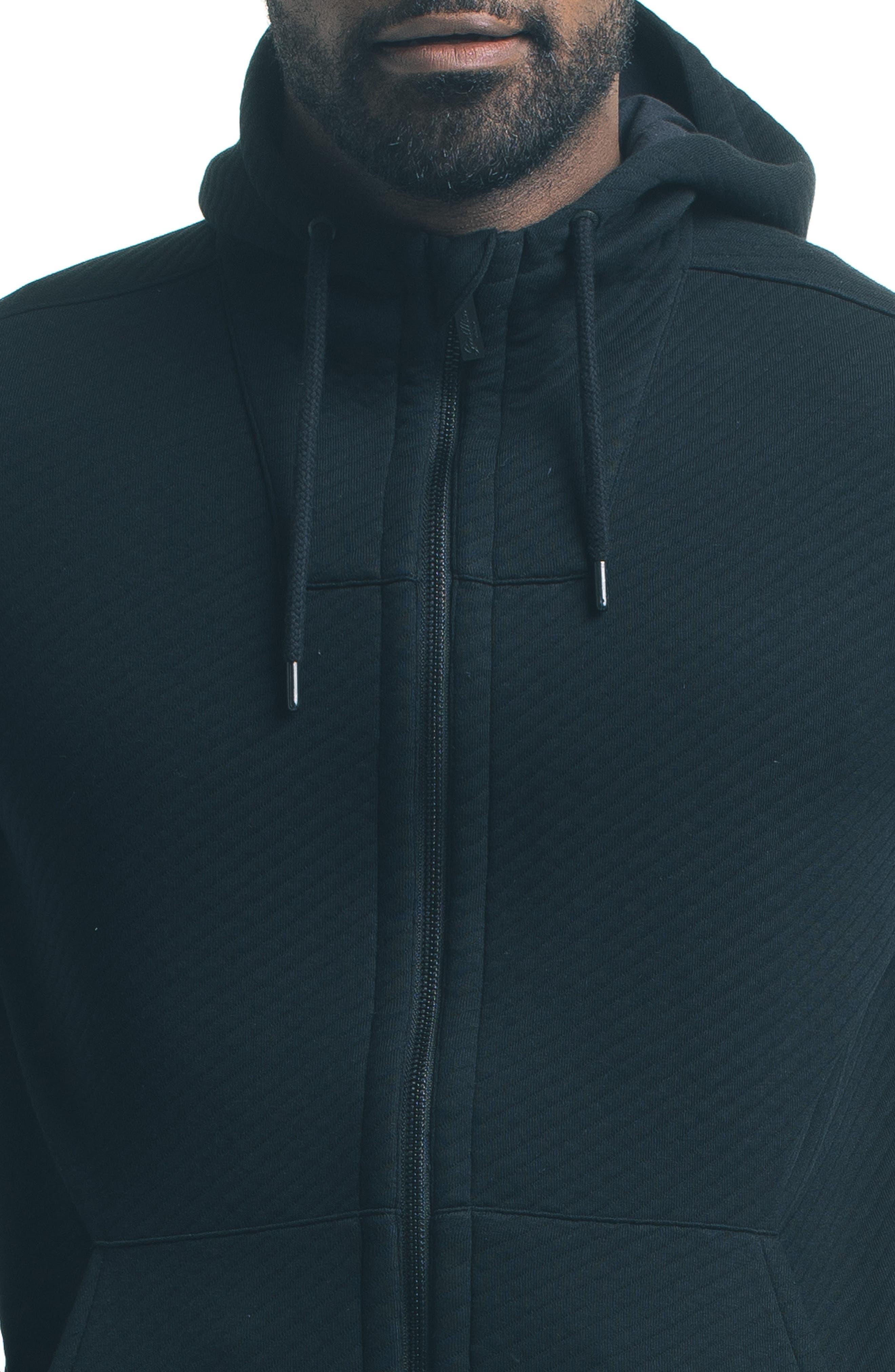 Texture Zip Hoodie,                             Alternate thumbnail 4, color,                             001