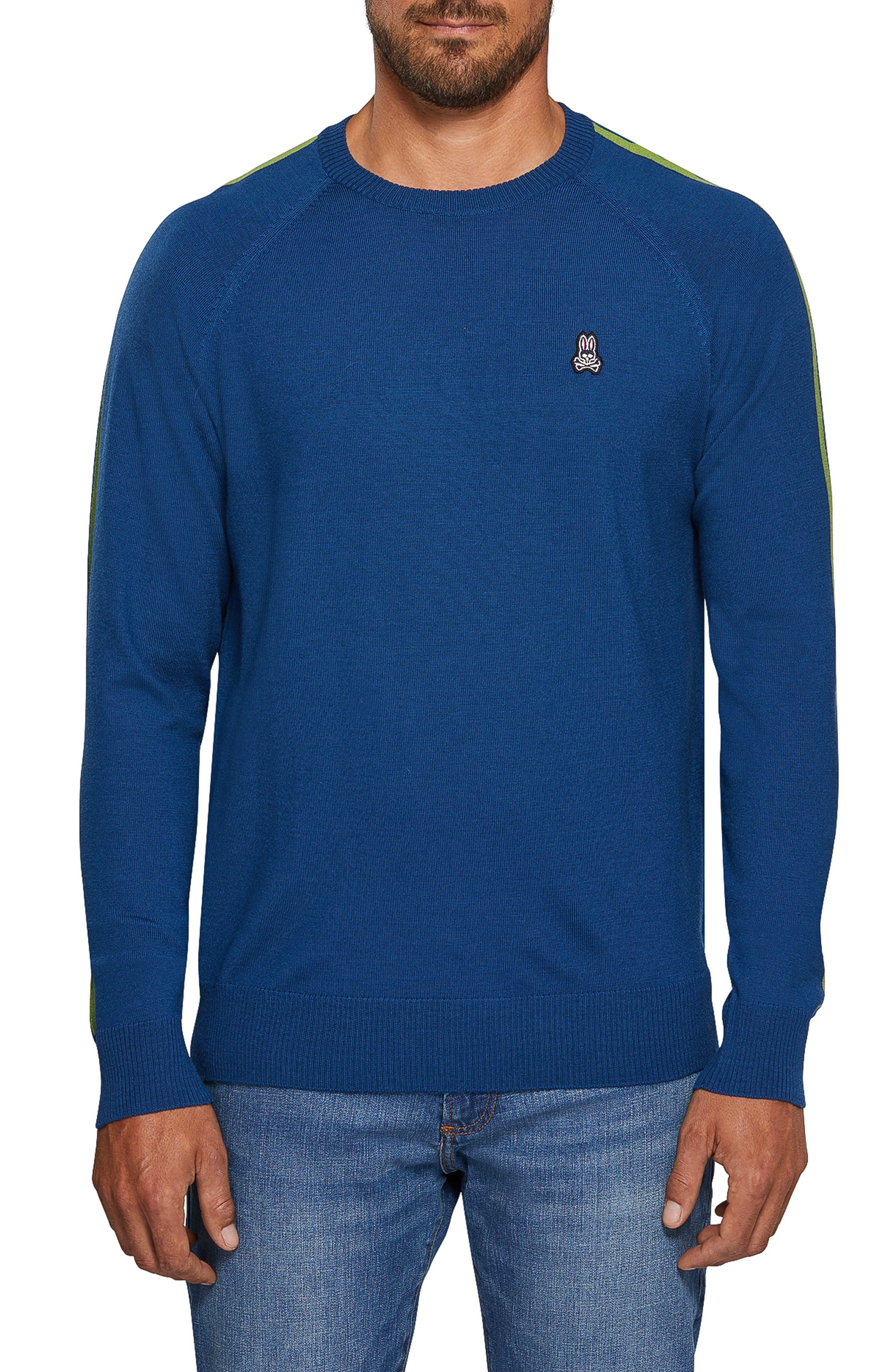 Psycho Bunny Raglan Merino Wool Sweater, Blue