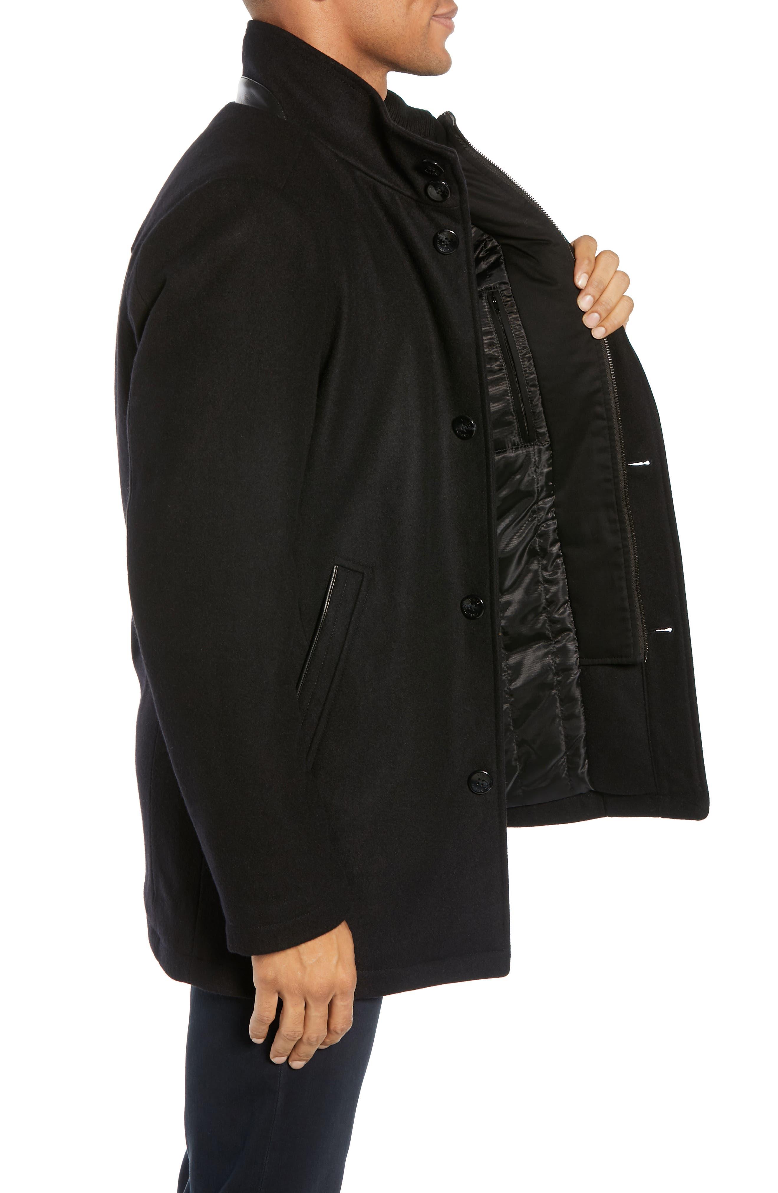 Classic Wool Blend Car Coat with Inset Bib,                             Alternate thumbnail 3, color,                             BLACK