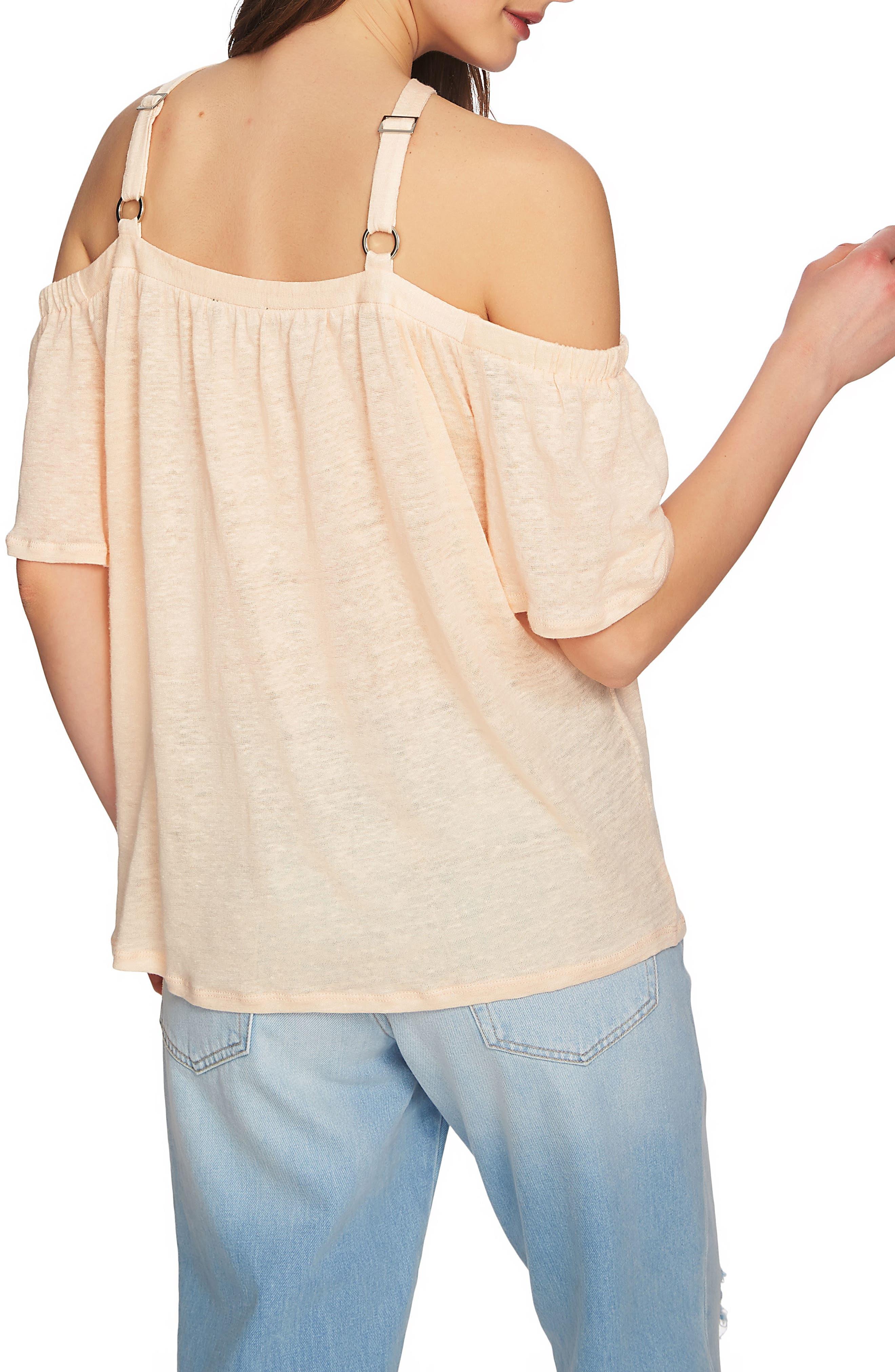 Cold Shoulder Linen Top,                             Alternate thumbnail 9, color,