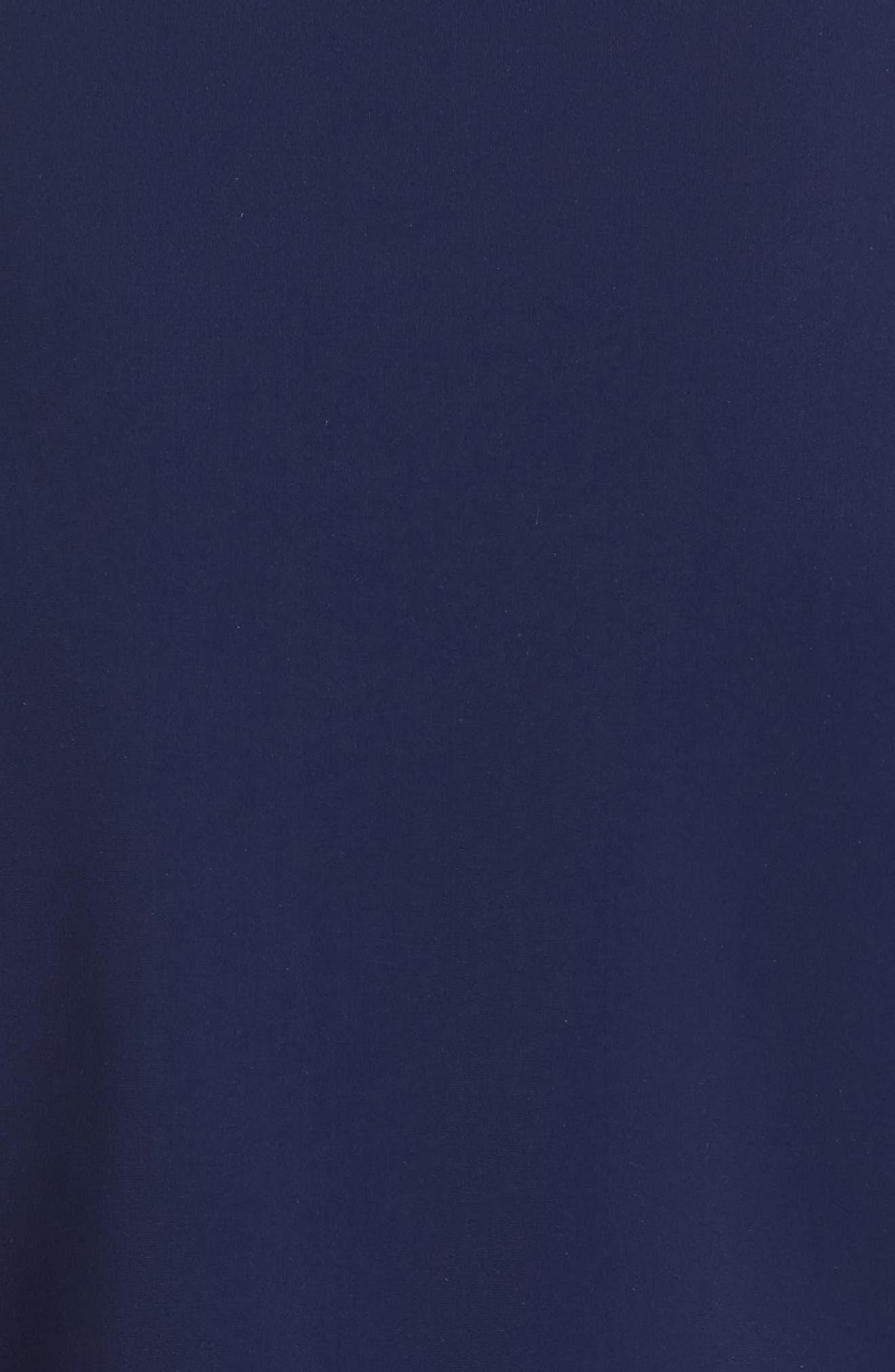 Macaria Satin Bow Trumpet Gown,                             Alternate thumbnail 5, color,                             BLUE NOTTE